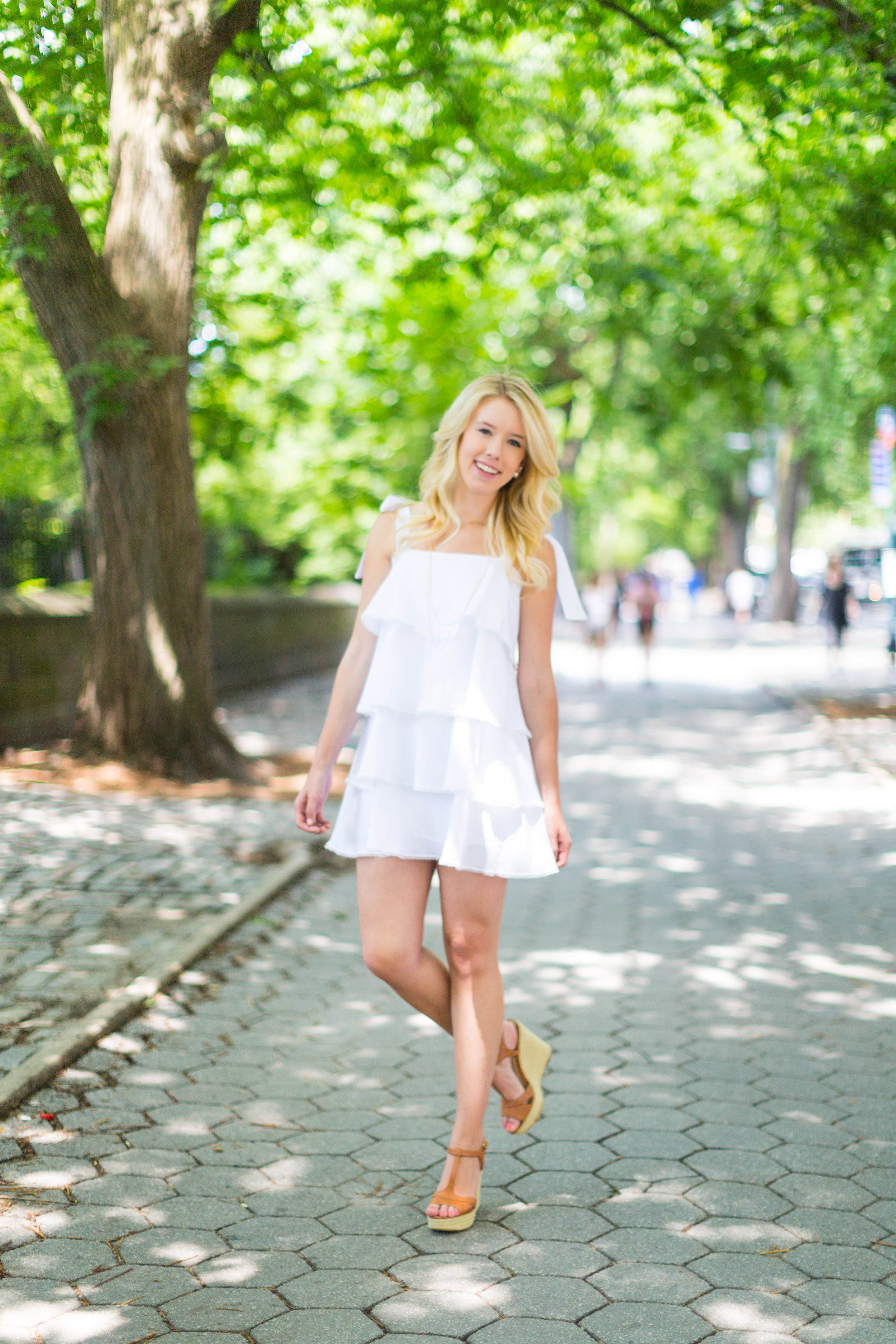 NYC Central Park Summer Fashion White Ruffled Dress-5.jpg