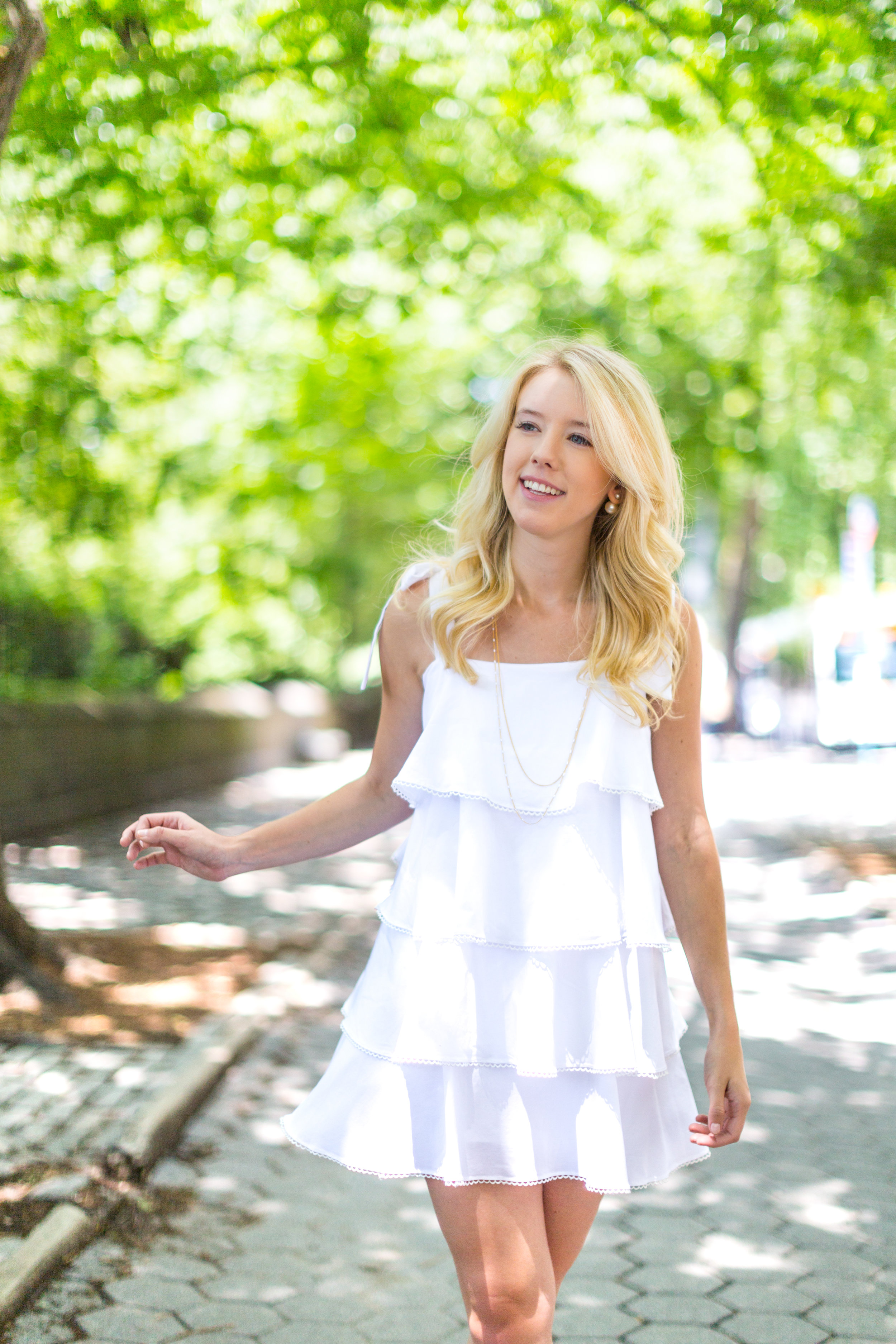 NYC Central Park Summer Fashion White Ruffled Dress-6.jpg