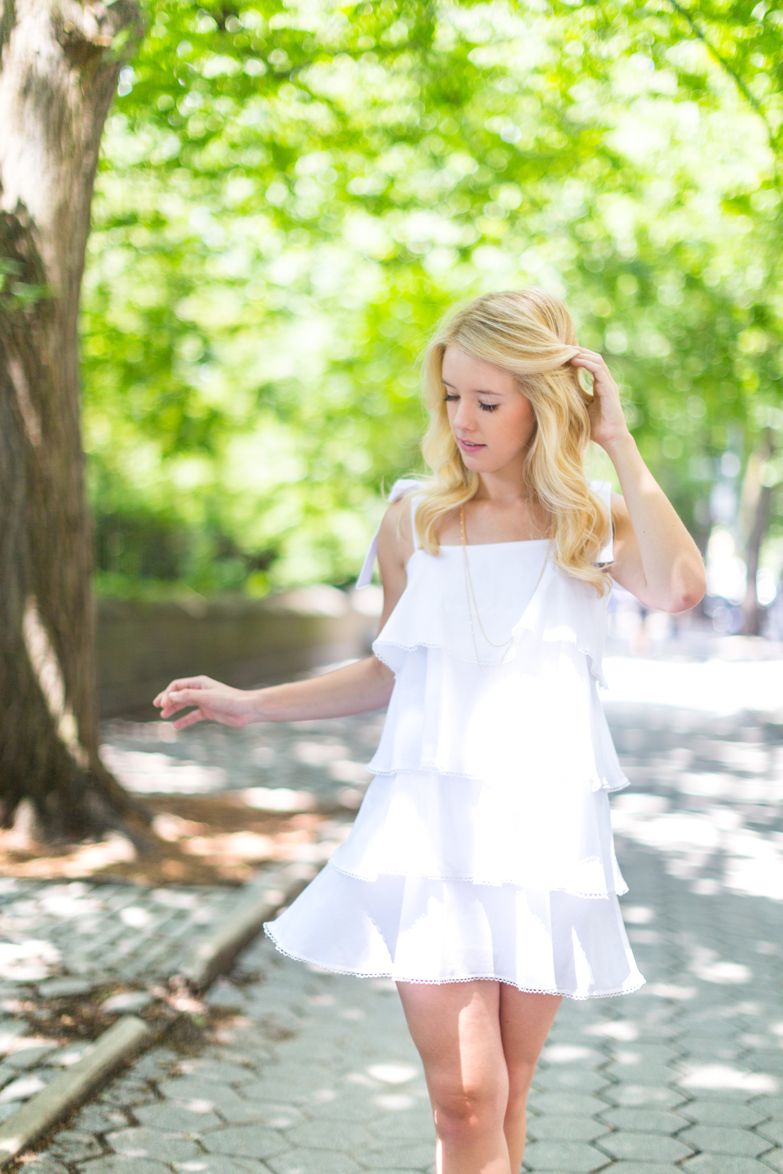 NYC Central Park Summer Fashion White Ruffled Dress-7.jpg
