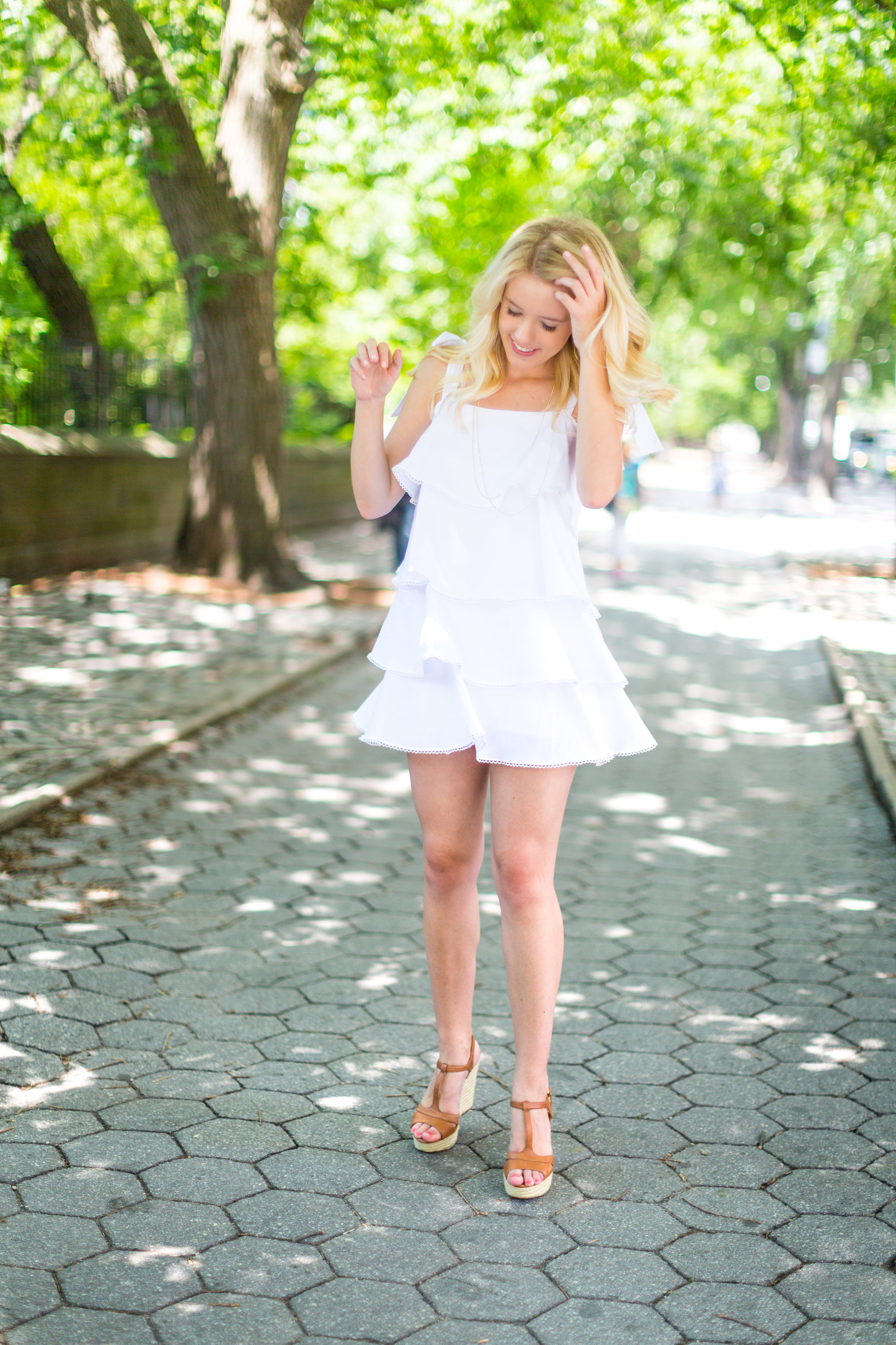 NYC Central Park Summer Fashion White Ruffled Dress-10.jpg