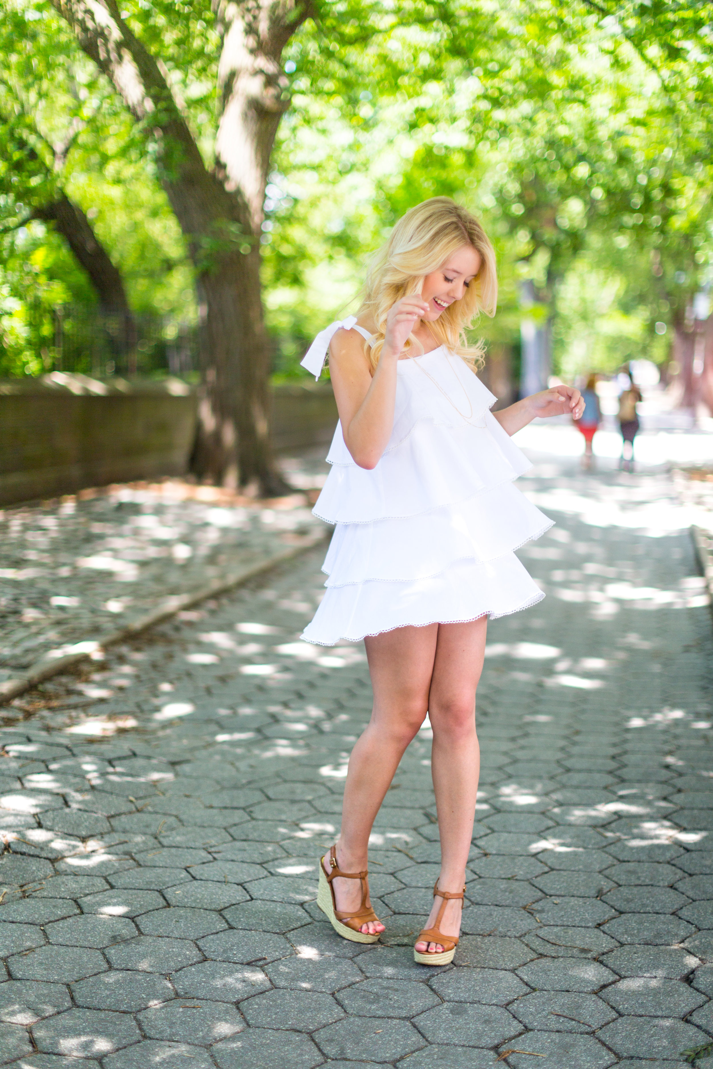 NYC Central Park Summer Fashion White Ruffled Dress-11.jpg