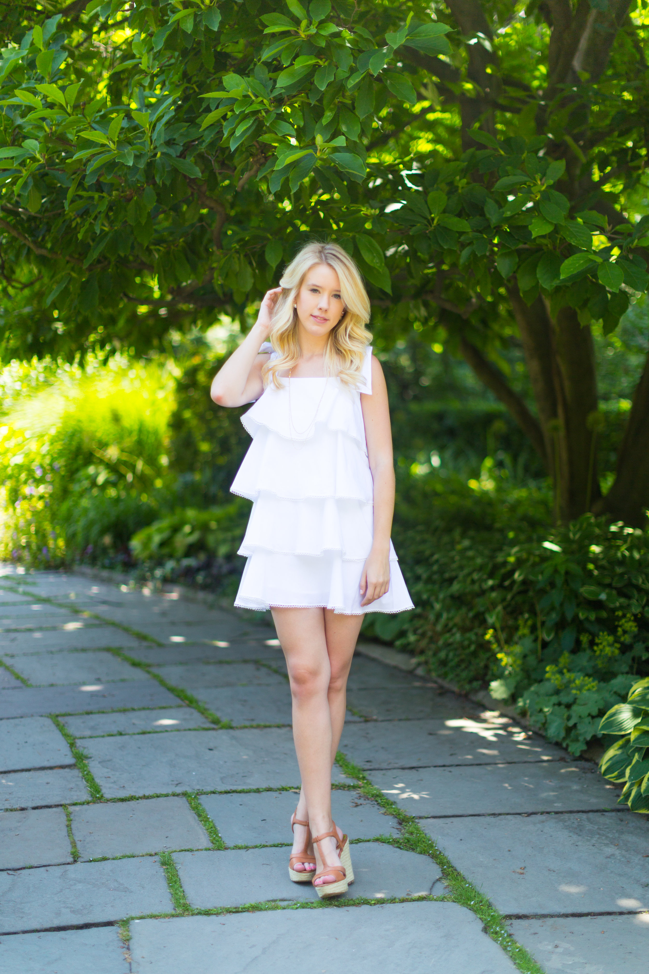 NYC Central Park Summer Fashion White Ruffled Dress.jpg
