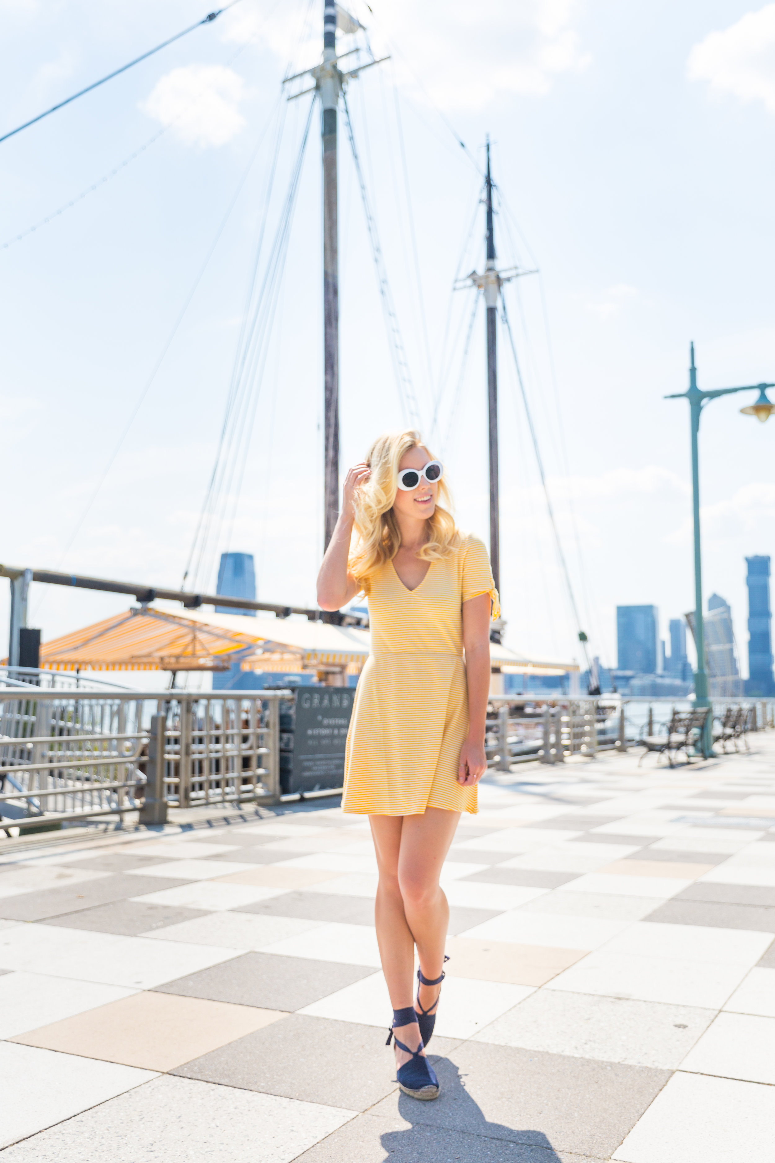 Summer Fashion Yellow Striped Dress NYC Grand Banks Bar-4.jpg