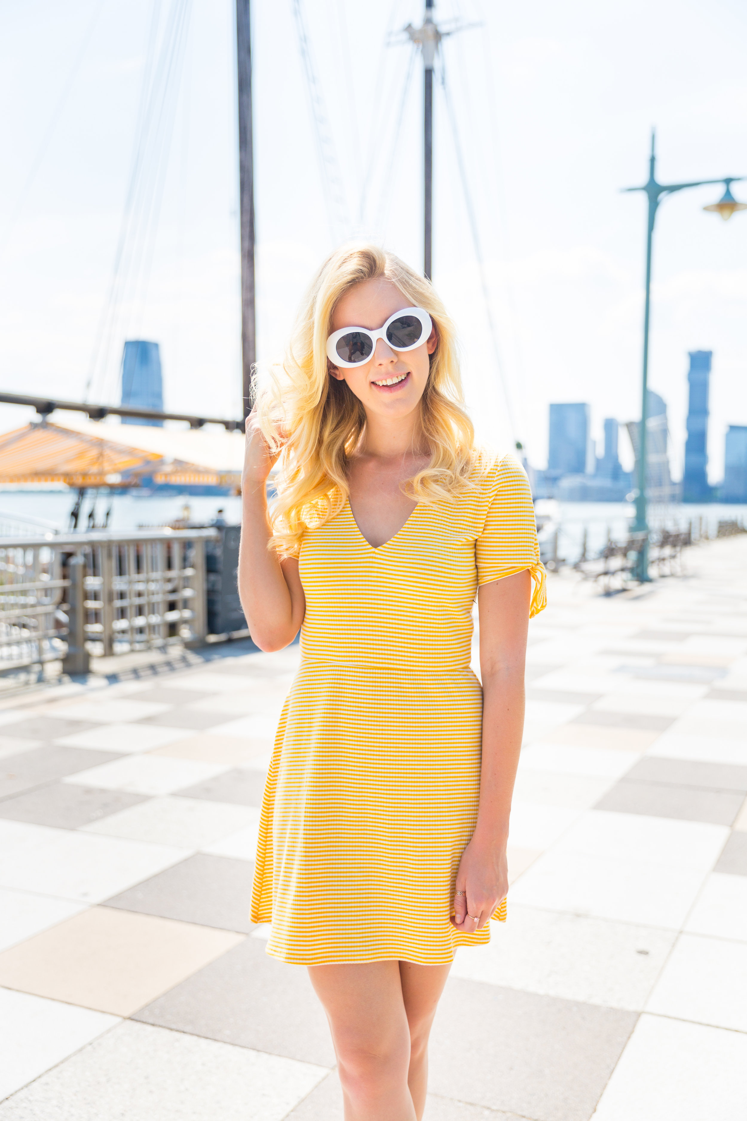 Summer Fashion Yellow Striped Dress NYC Grand Banks Bar-5.jpg