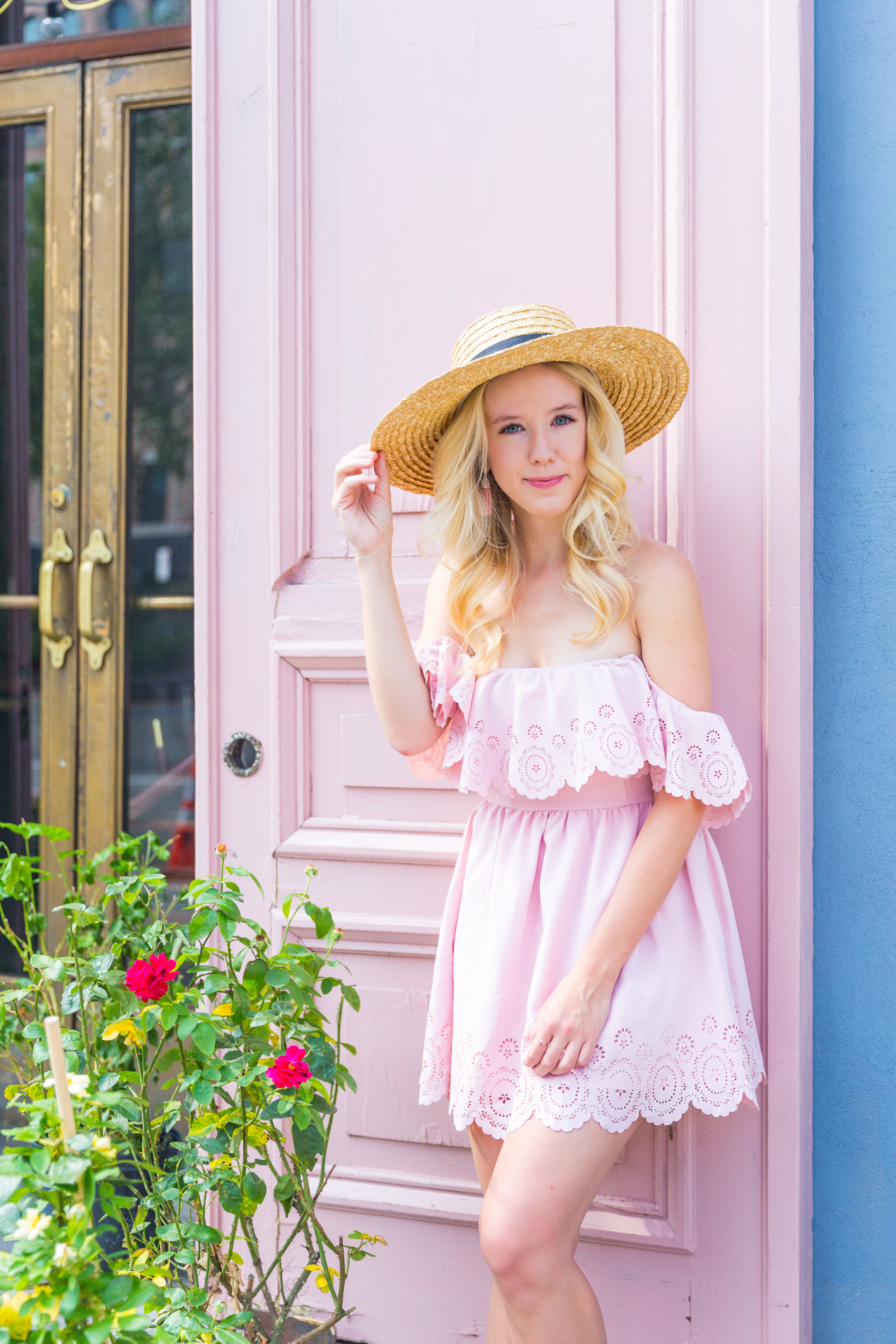 Summer Fashion NYC Pink Off Shoulder Lace Dress.jpg