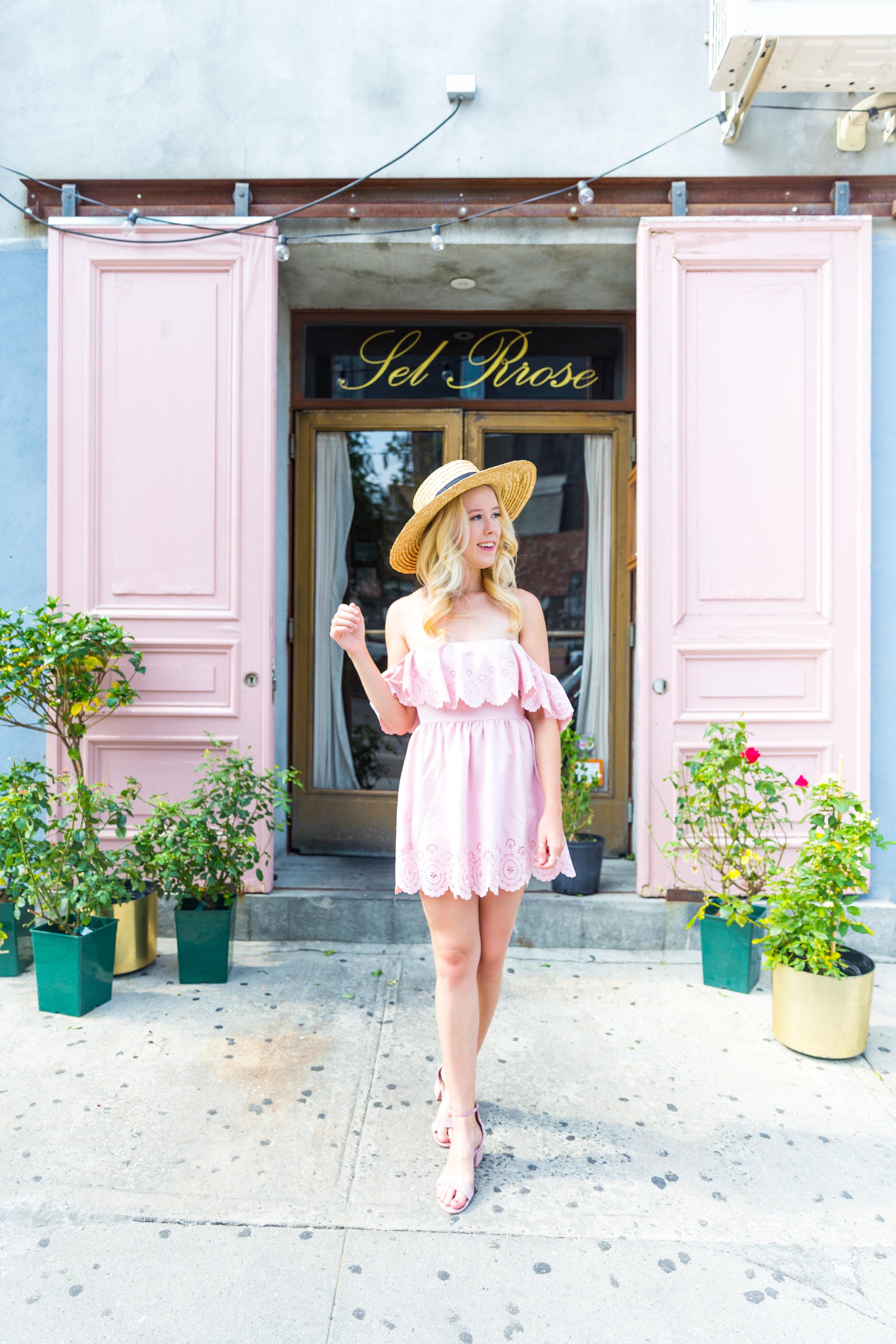 Summer Fashion NYC Pink Off Shoulder Lace Dress-2.jpg