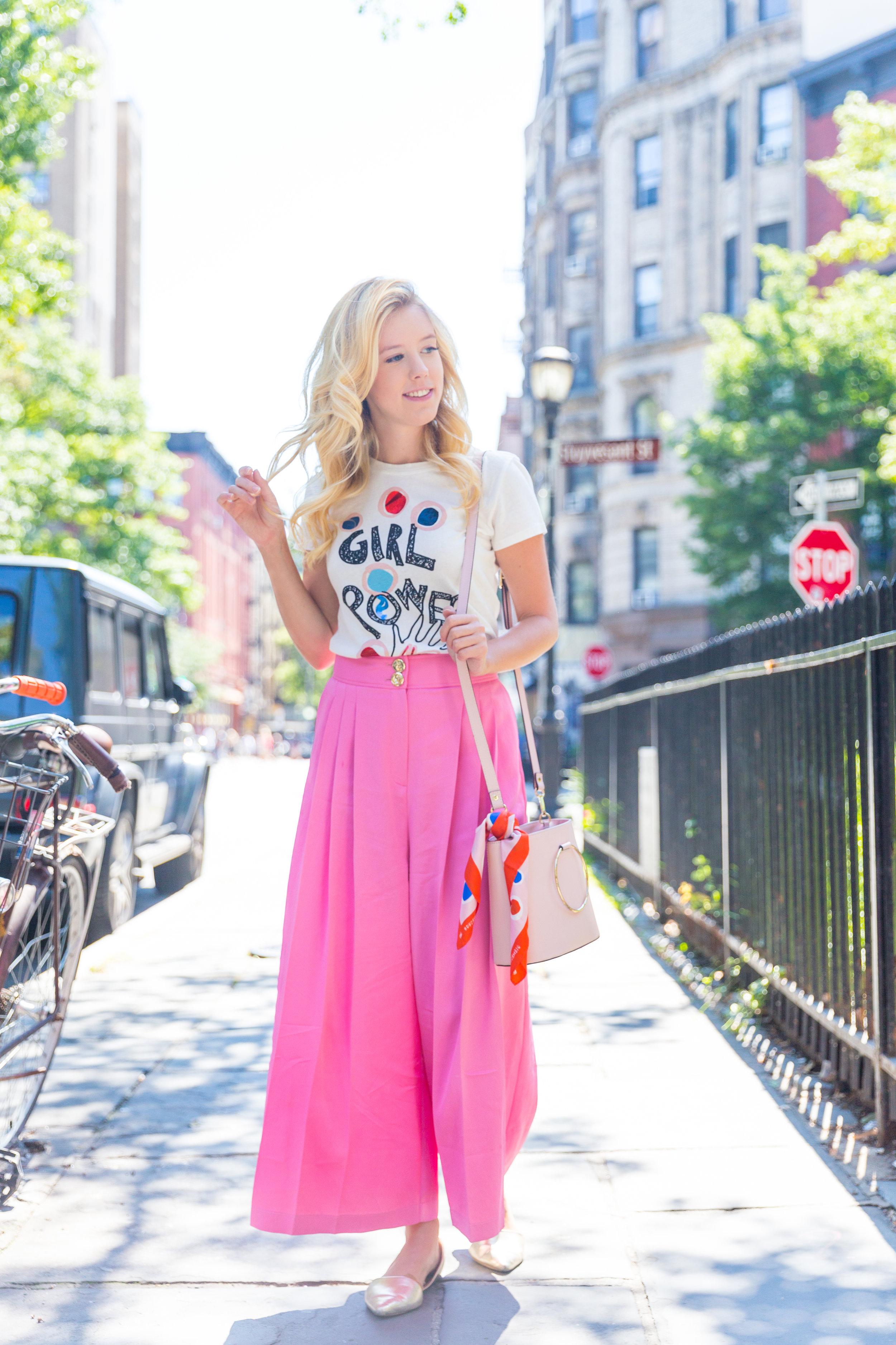 Summer Ethical Fashion NYC Pink Pants Girl Power Shirt-4.jpg