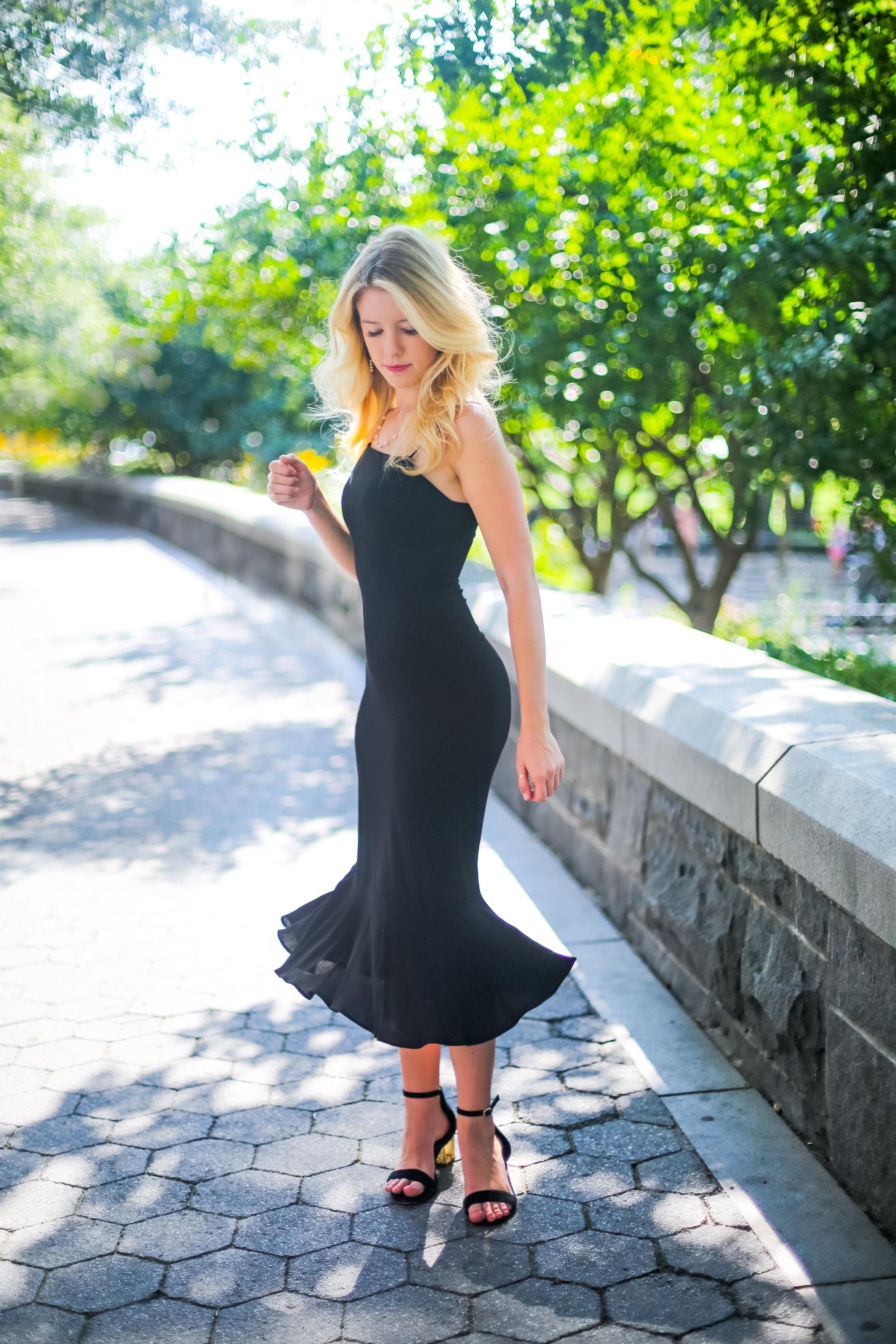 Summer Sustainable Fashion NYC Black Flare Dress.jpg