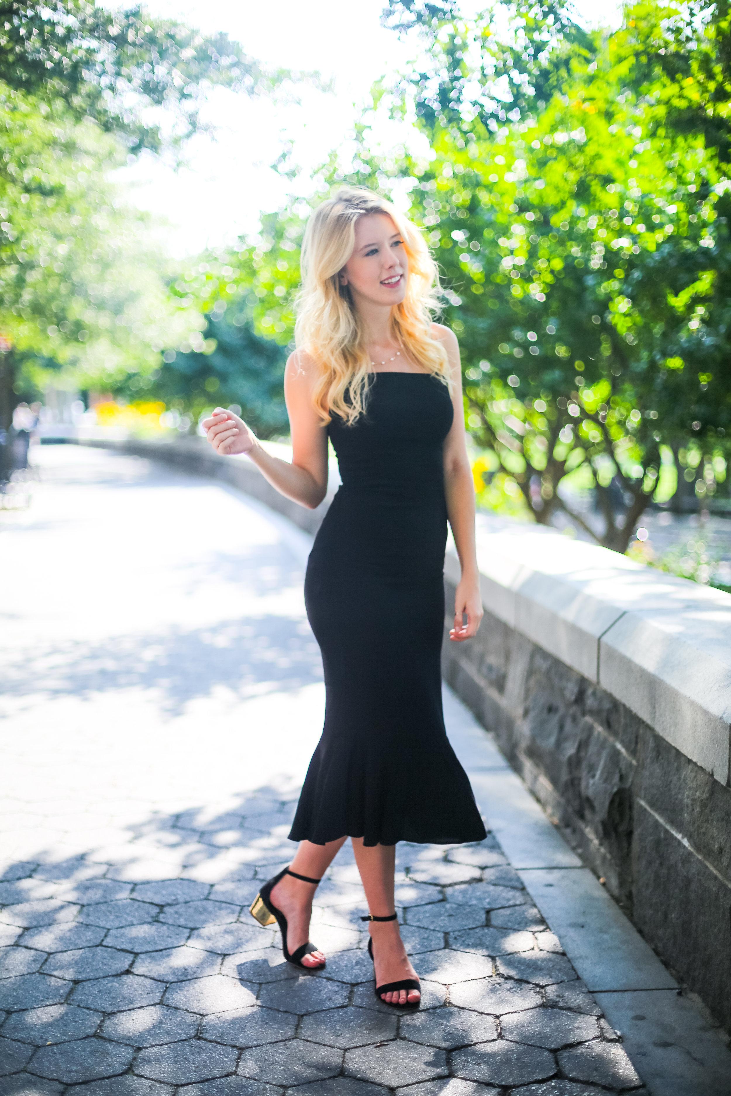 Summer Sustainable Fashion NYC Black Flare Dress-3.jpg