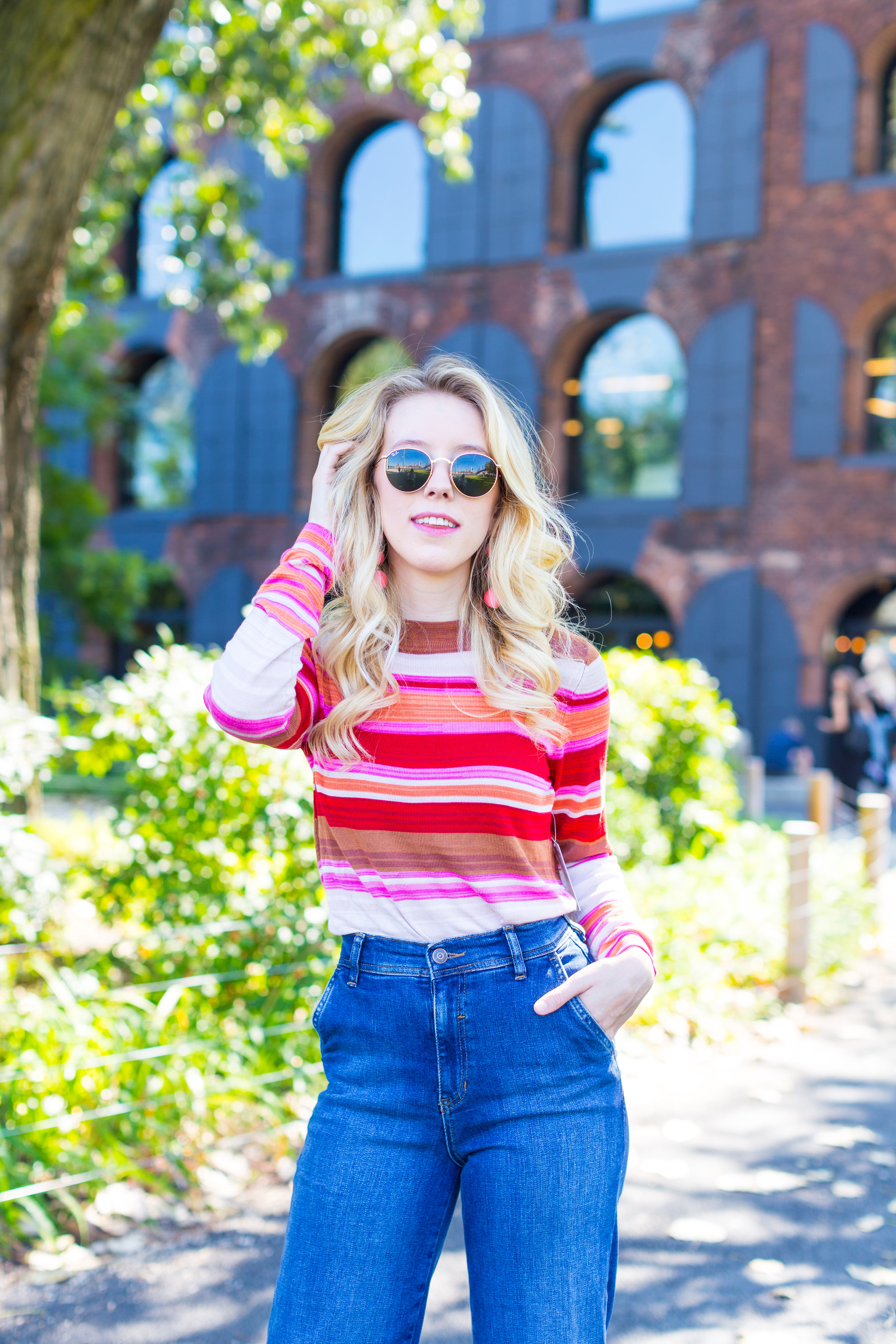 Fall Fashion Retro Striped Sweater and Wide Leg Jeans.jpg