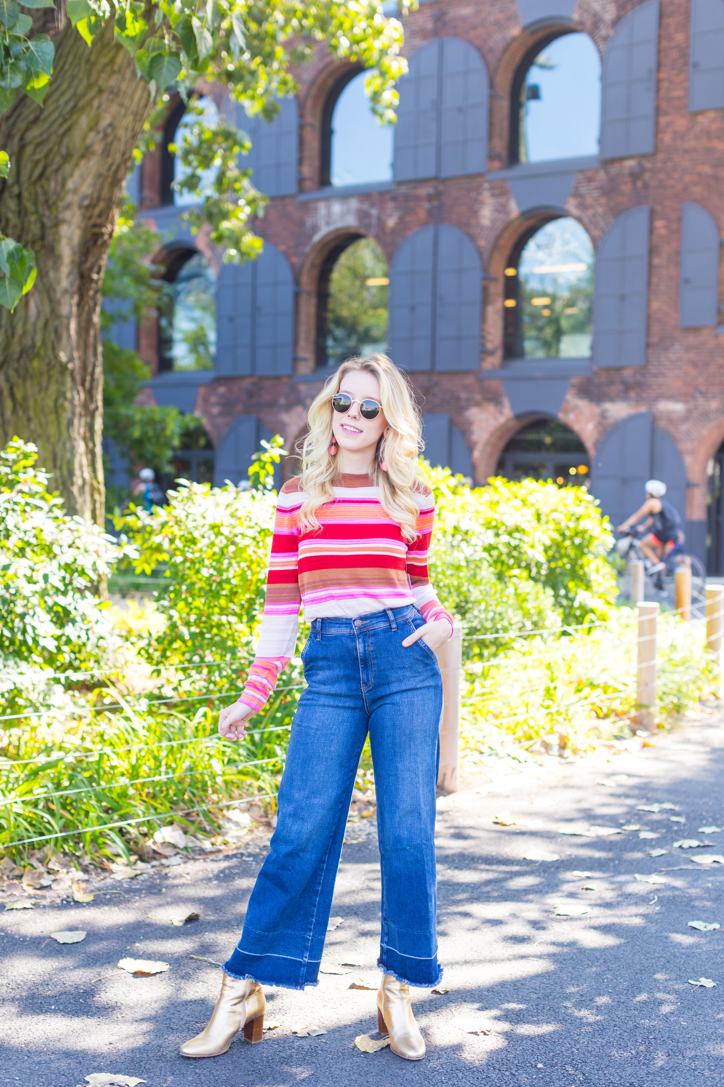 Fall Fashion Retro Striped Sweater and Wide Leg Jeans-2.jpg