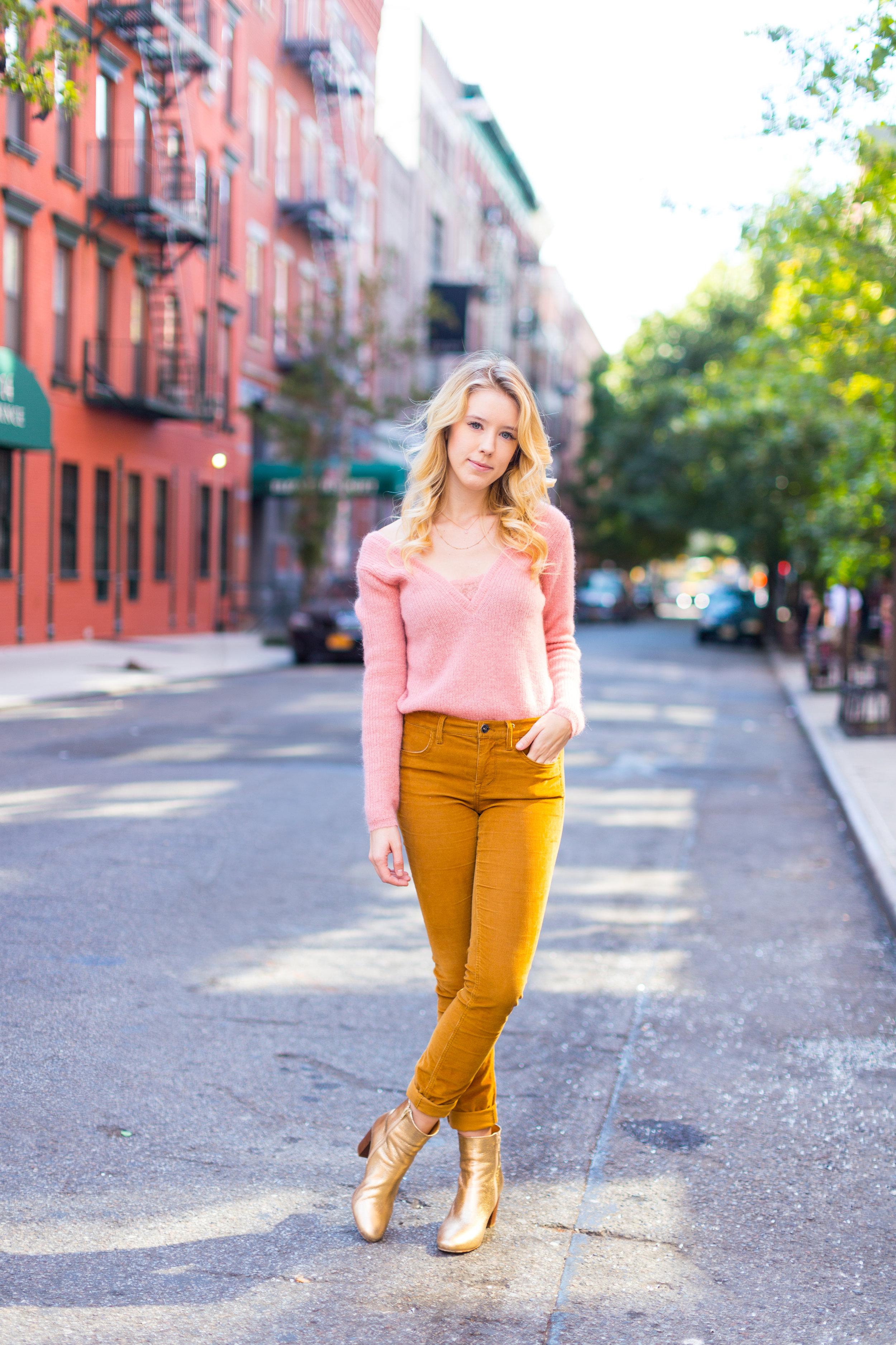 Fall Fashion Pink Sweater and Gold Pants.jpg