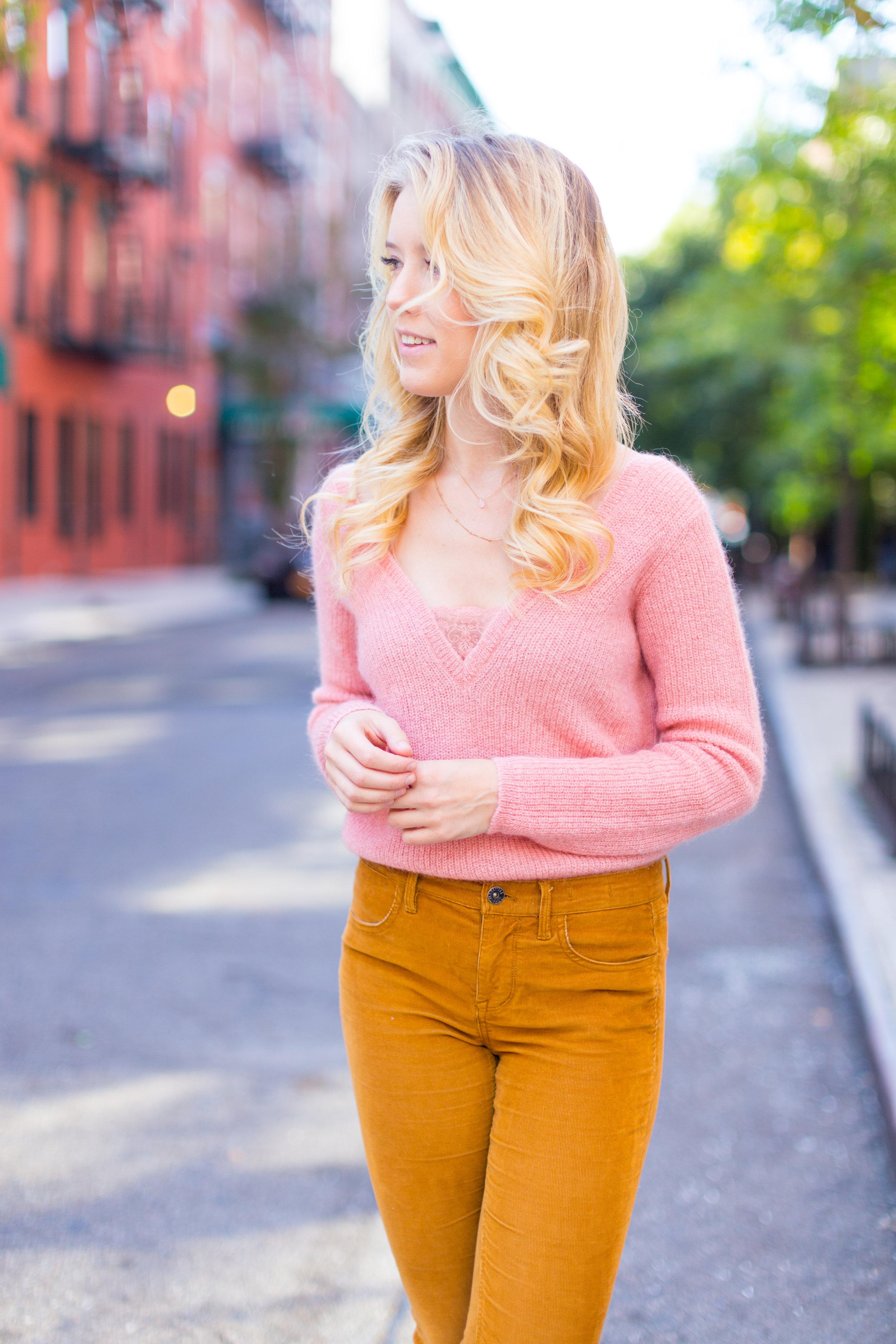 Fall Fashion Pink Sweater and Gold Pants-3.jpg