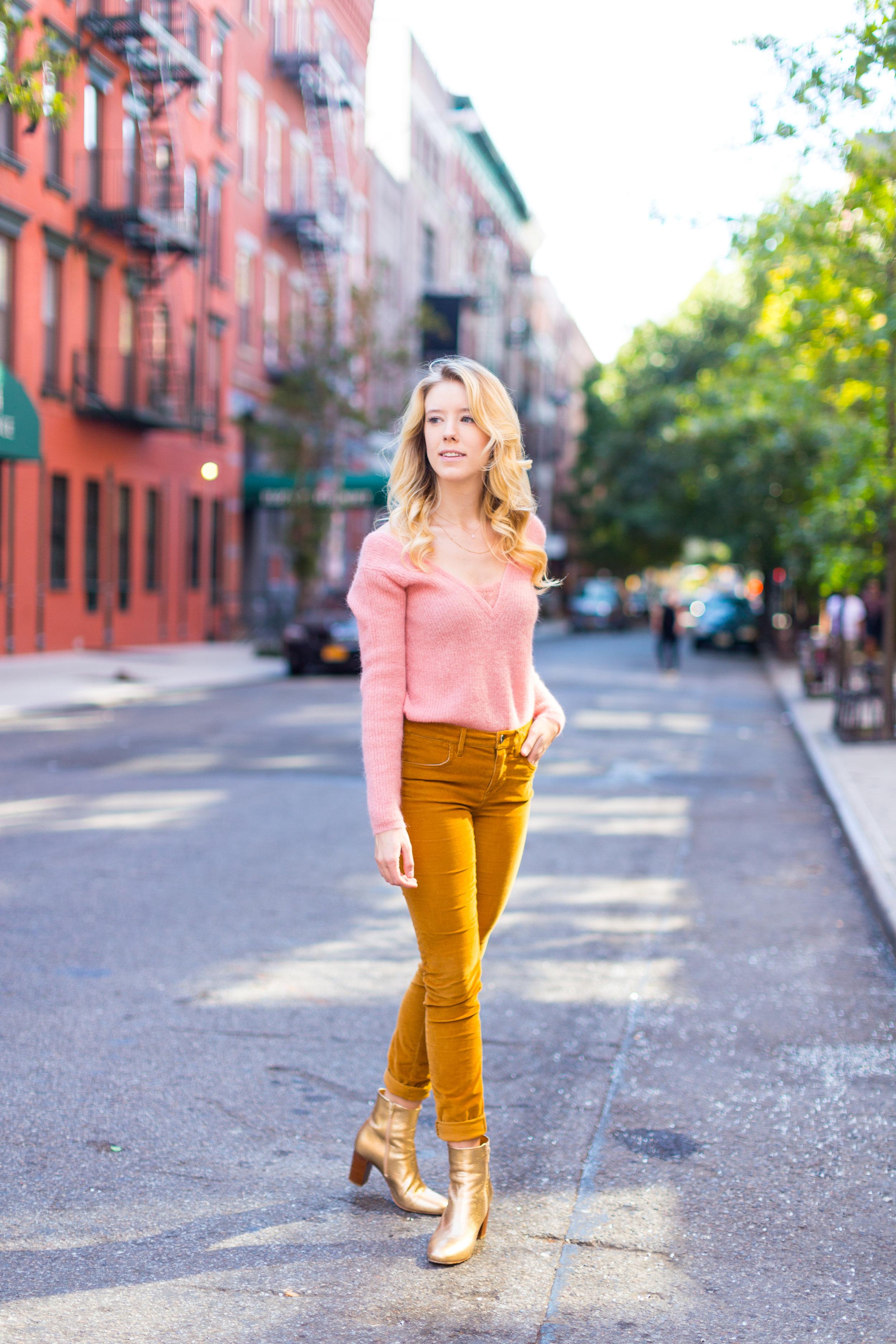 Fall Fashion Pink Sweater and Gold Pants-5.jpg