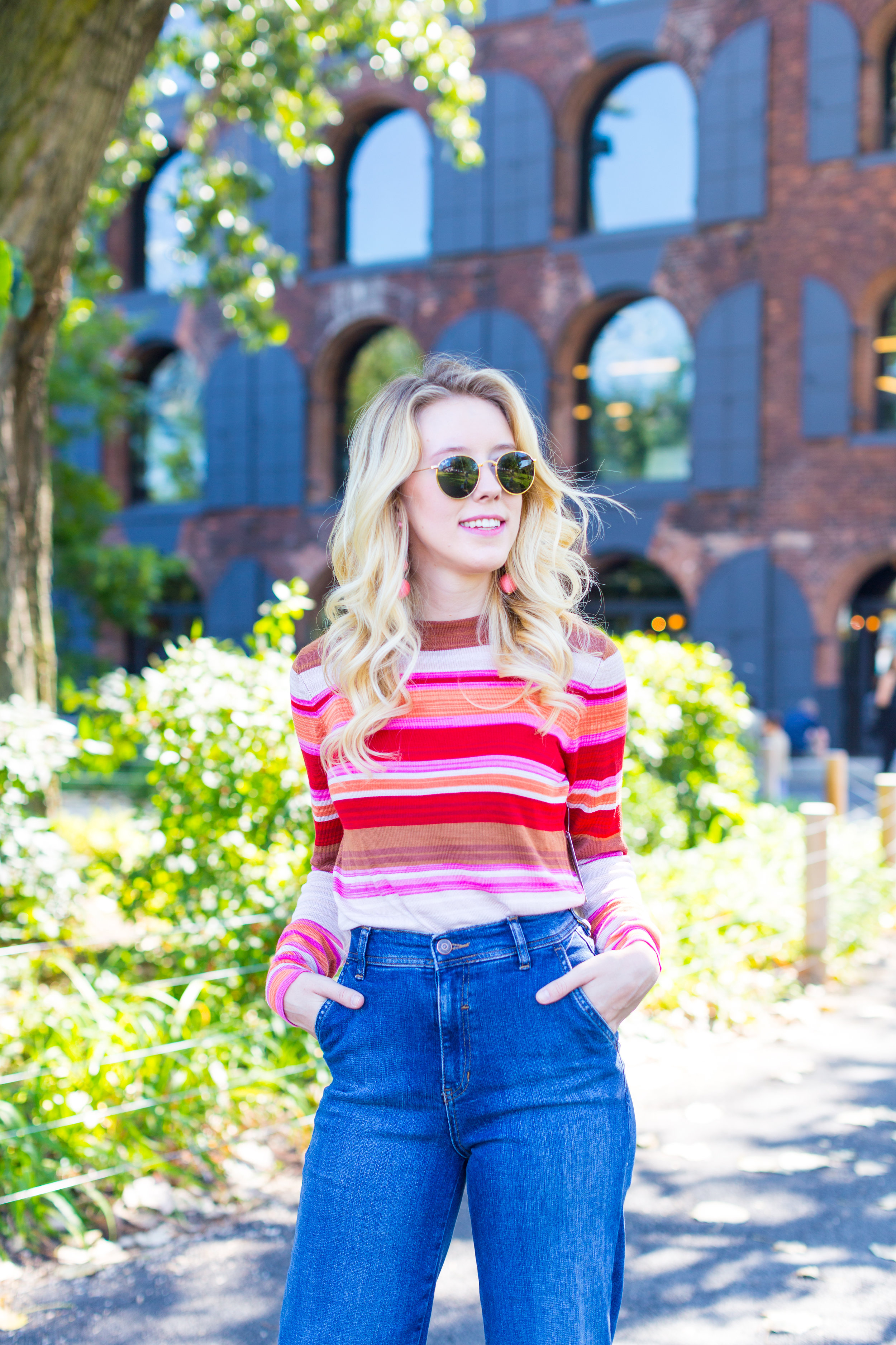 Fall Fashion Retro Striped Sweater and Wide Leg Jeans-4.jpg