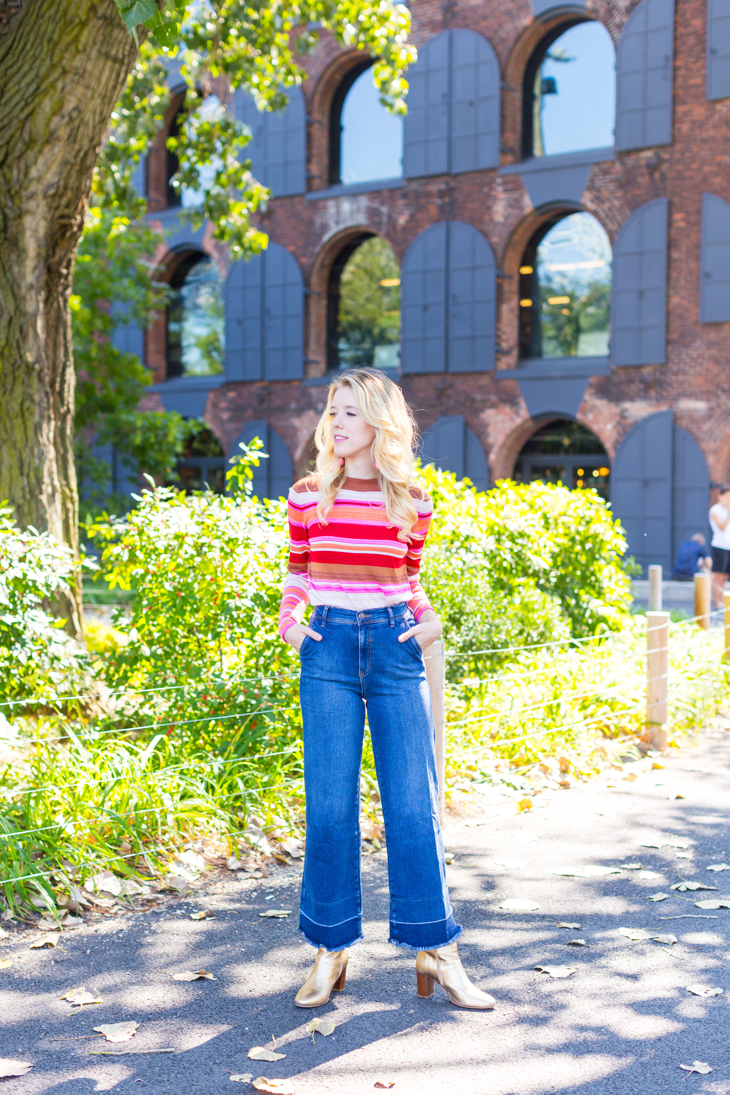 Fall Fashion Retro Striped Sweater and Wide Leg Jeans-7.jpg