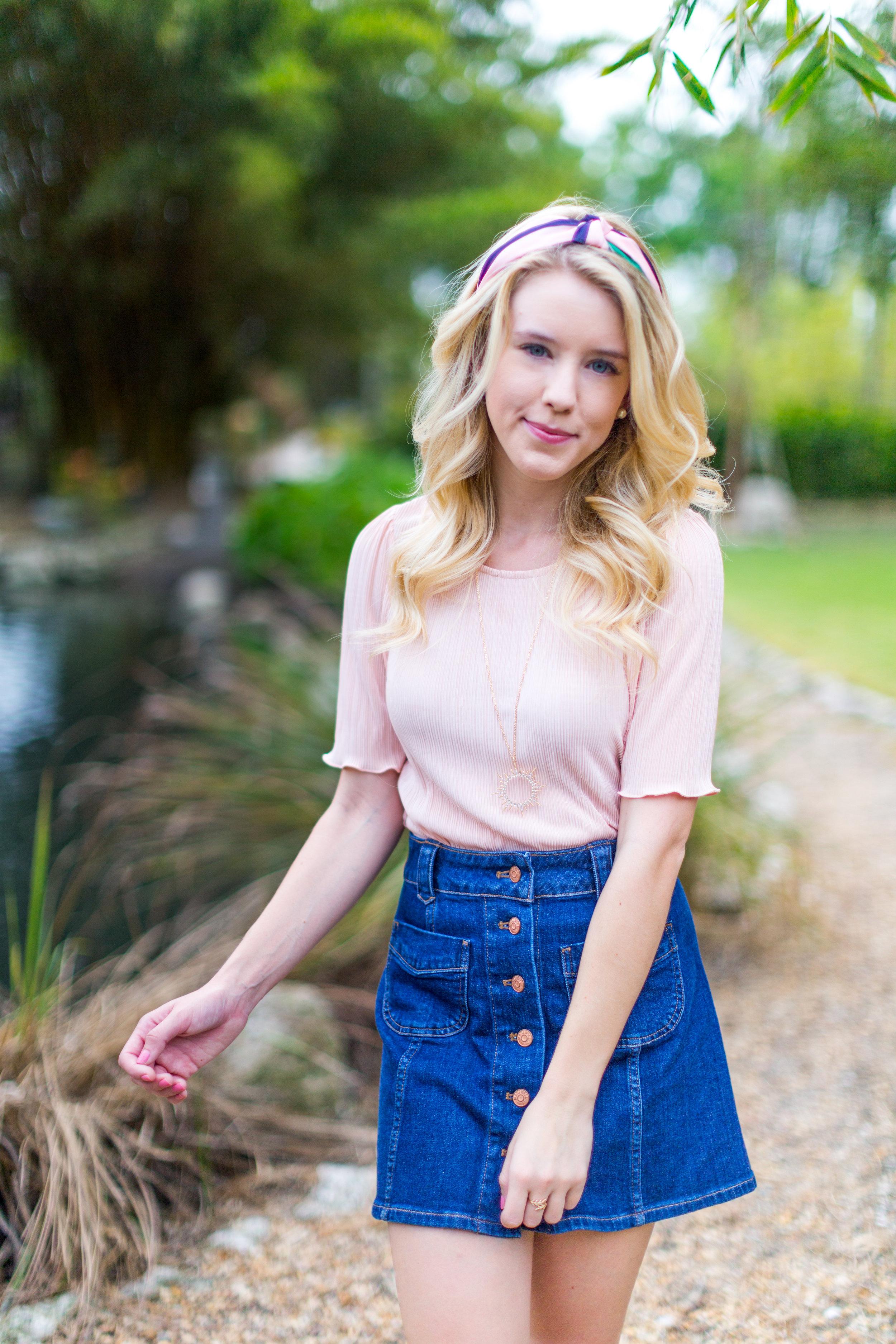 Preppy Fall Fashion Florida Denim Skirt.jpg