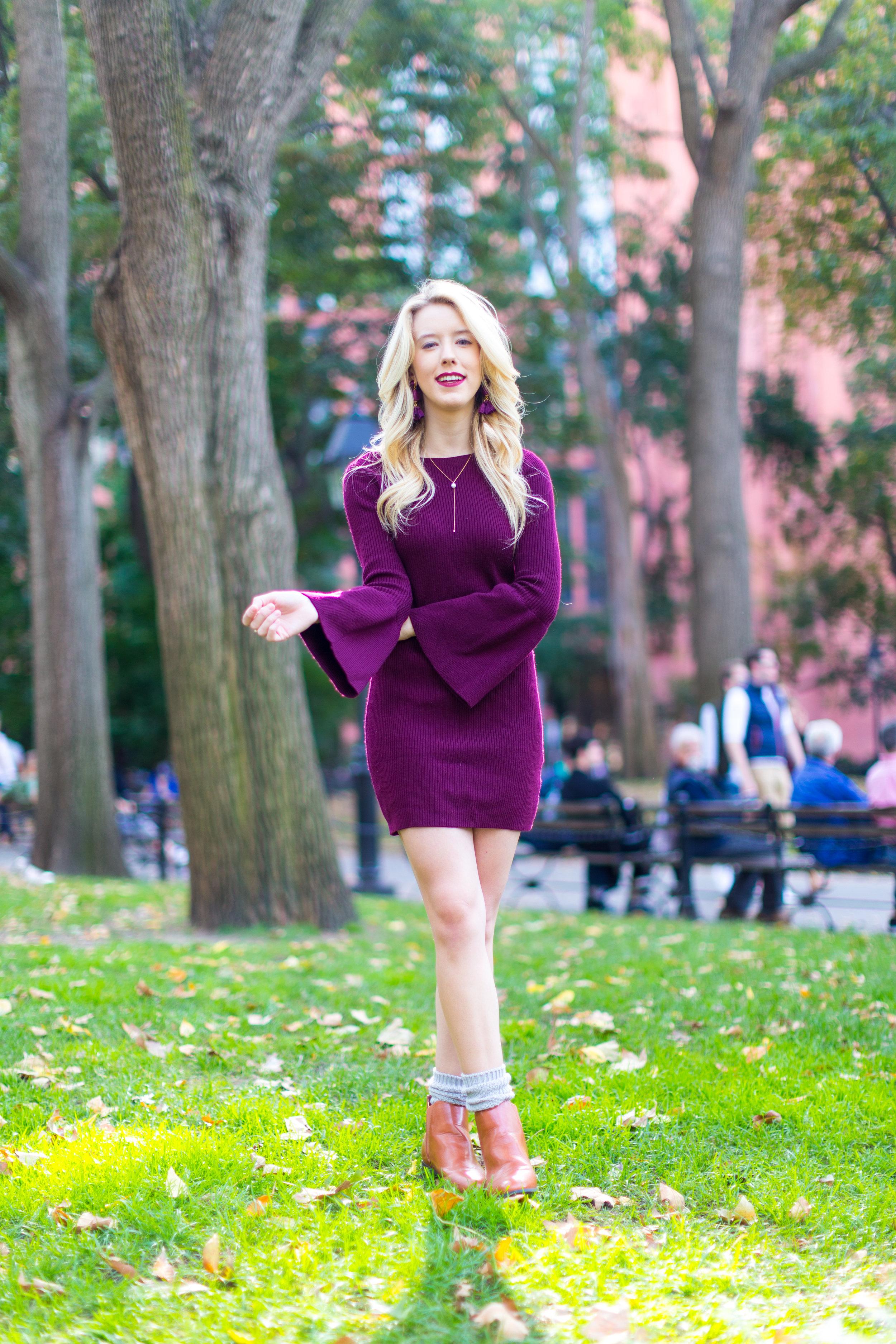 NYC Fall Fashion Burgundy Sweater Dress.jpg