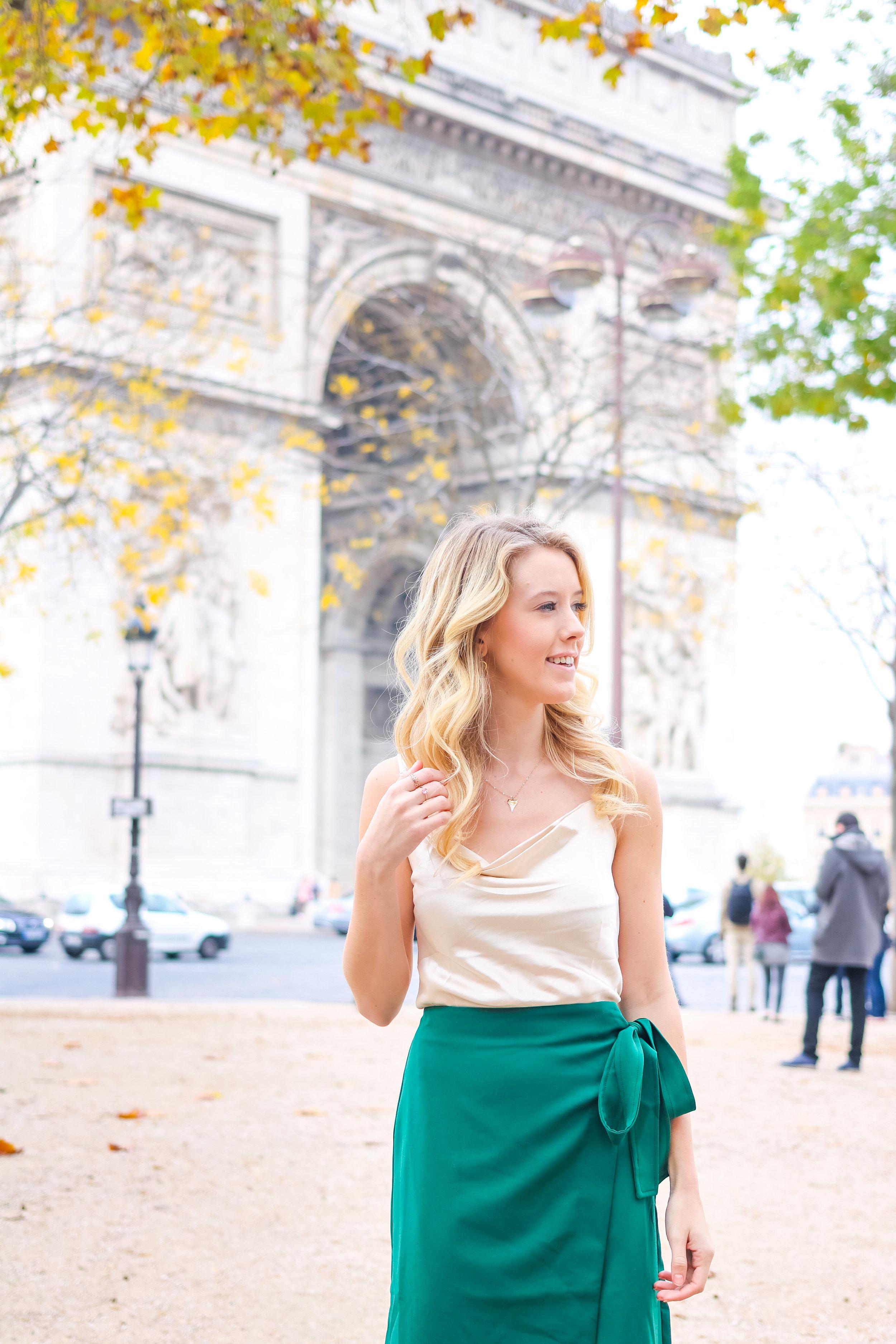 Paris Fall Fashion Silk Cami Green Wrap Skirt.jpg