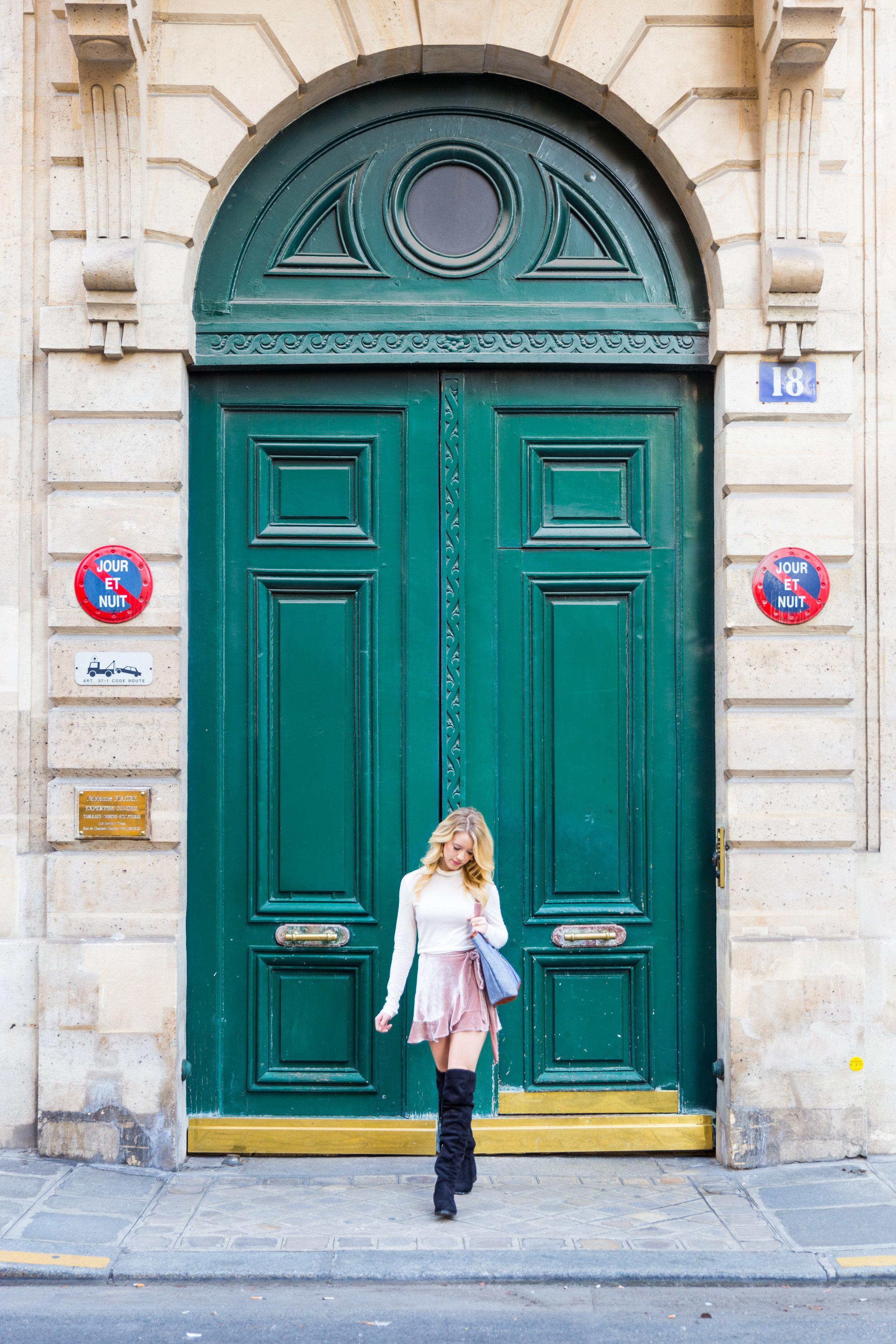 Paris Fall Fashion Pink Velvet Wrap Skirt Pink Beret White Turtleneck-2.jpg