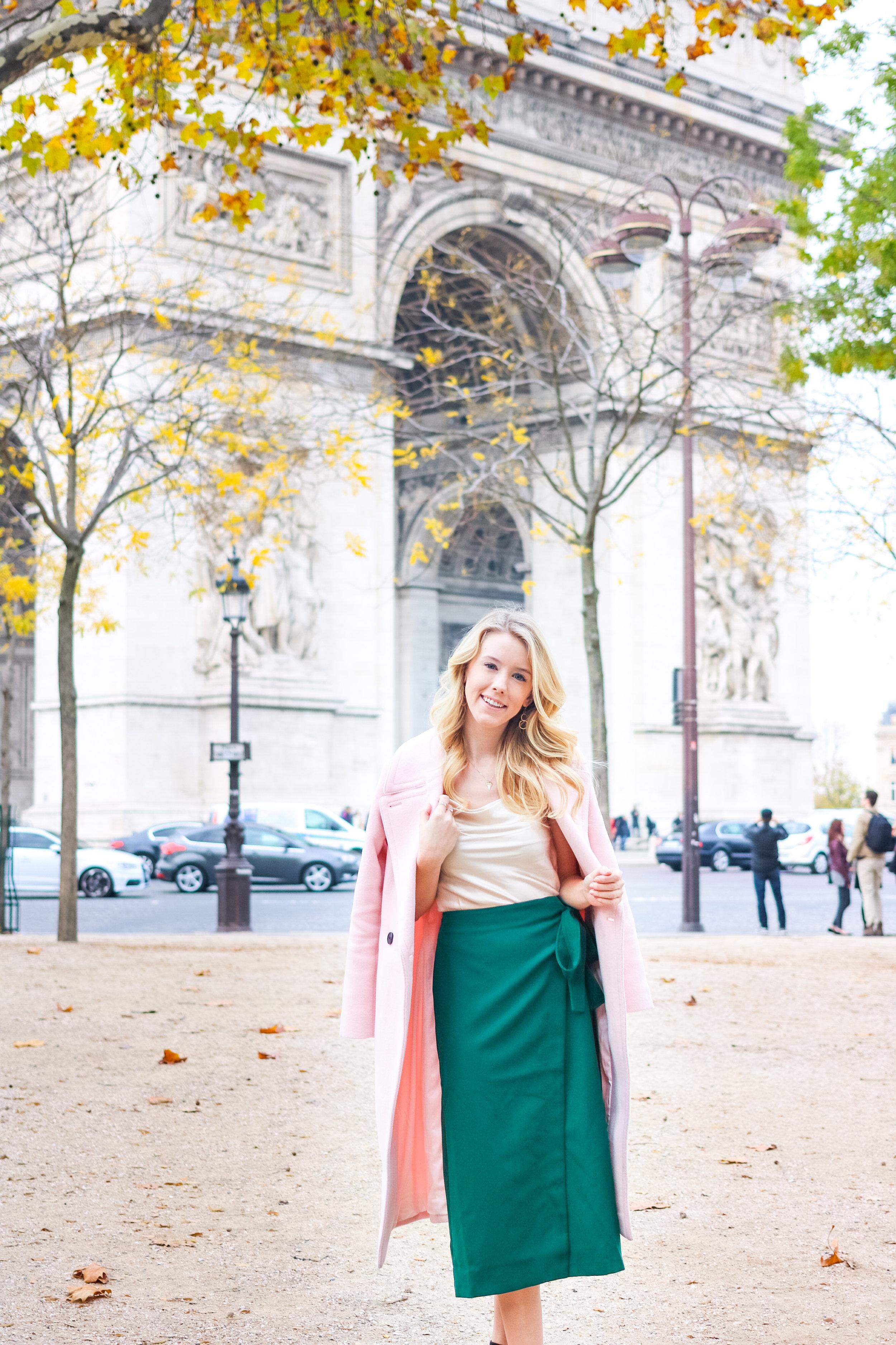 Paris Fall Fashion Silk Cami Green Wrap Skirt-2.jpg