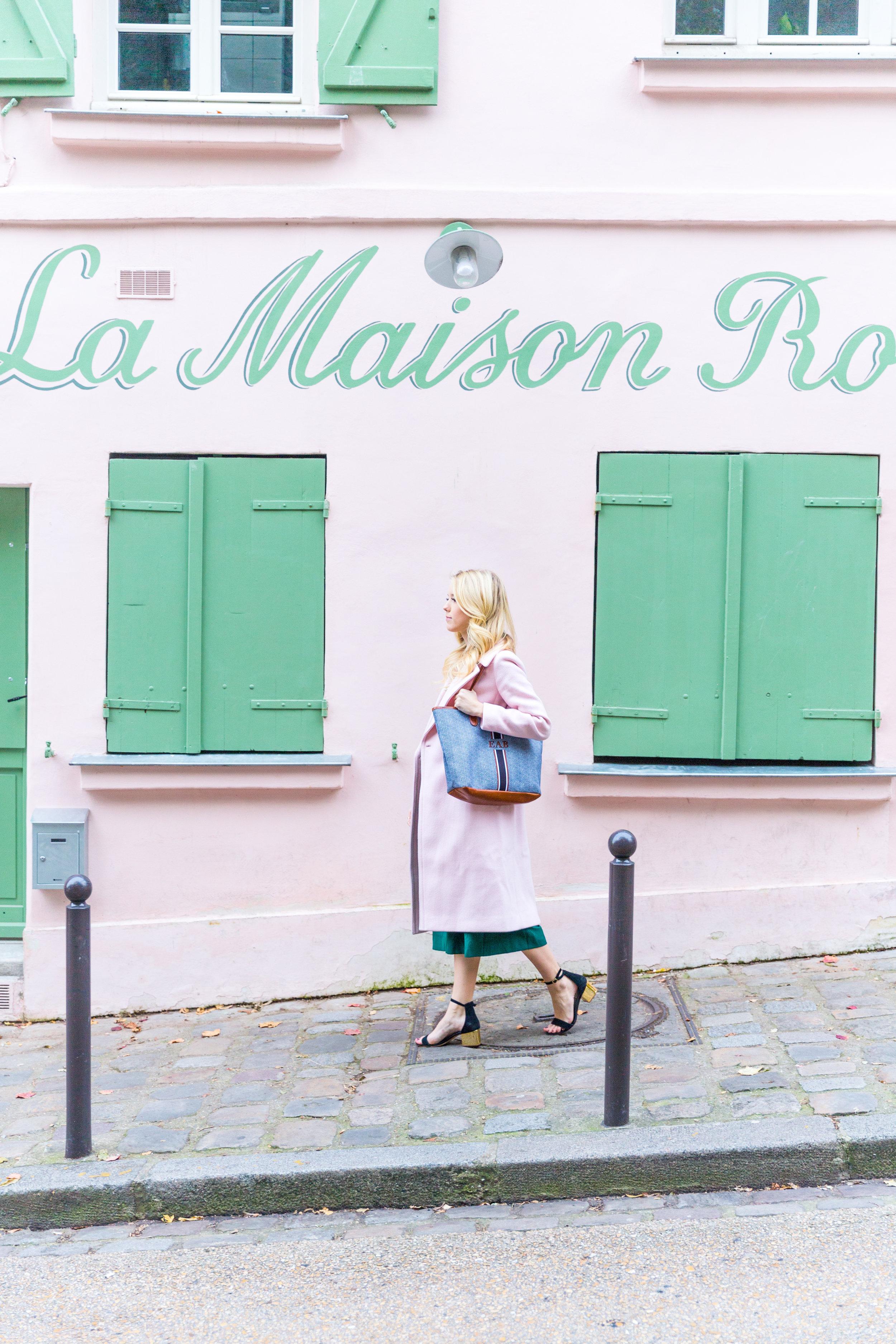 Paris Fall Fashion Silk Cami Green Wrap Skirt Pink Coat.jpg