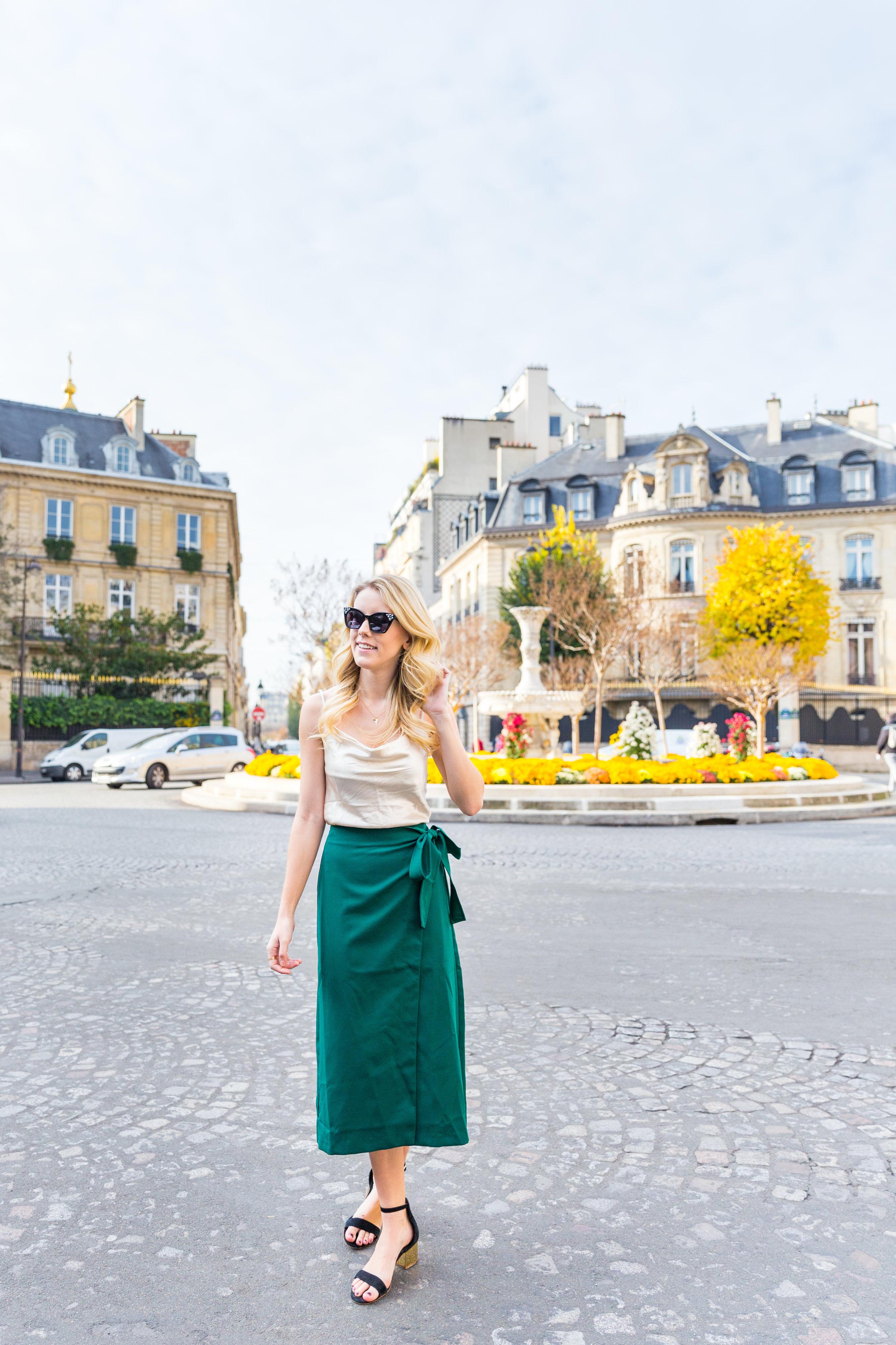 Paris Fall Fashion Silk Cami Green Wrap Skirt-3.jpg