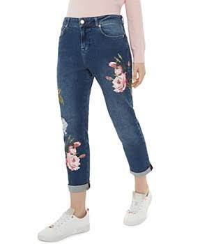 Embroidered jeans are always a good idea! Add some color and pattern without having an overwhelming design, and floral is always pleasant, like on these Ted Baker jeans.