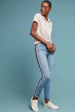 Side-striped jeans are majorly in right now! Just a small detail can make a pair of jeans go a long way, and seem much more interesting, like this pair from Anthropologie.