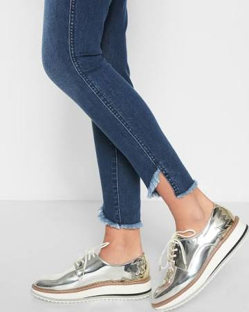 These jeans have a staggered hem which is very on trend right now! Adding to the frayed hem trend as well, mixing and matching these hot trends can add more flair that one thought was possible to your old, blue denim.