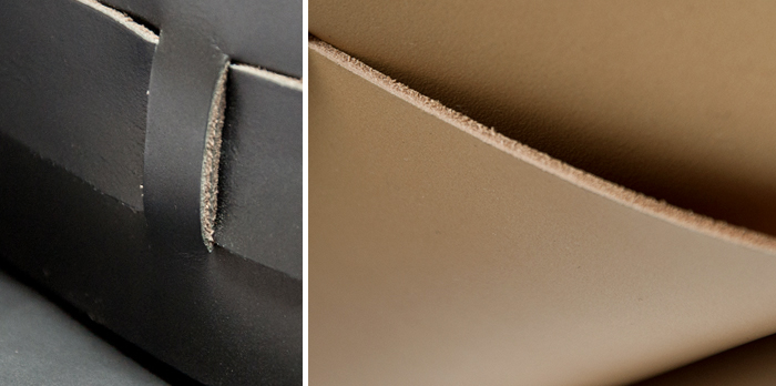 Full-grain veg-tan calfskin leather