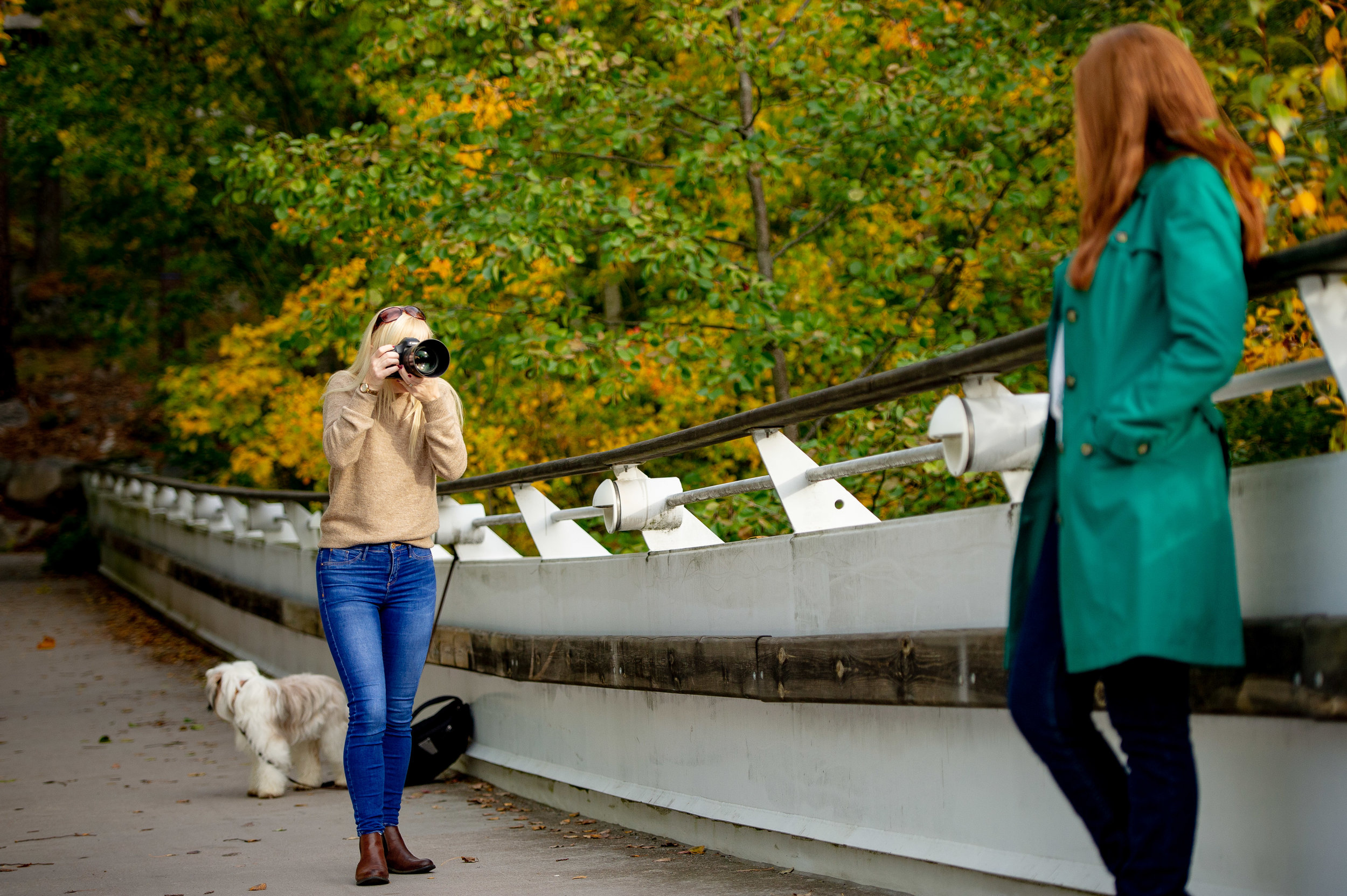 - Here I am photographing my beautiful model, Kylie. This time I had security with me guarding my camera bag - see Tibetan Terrier keeping watch behind me. You can never be too careful.