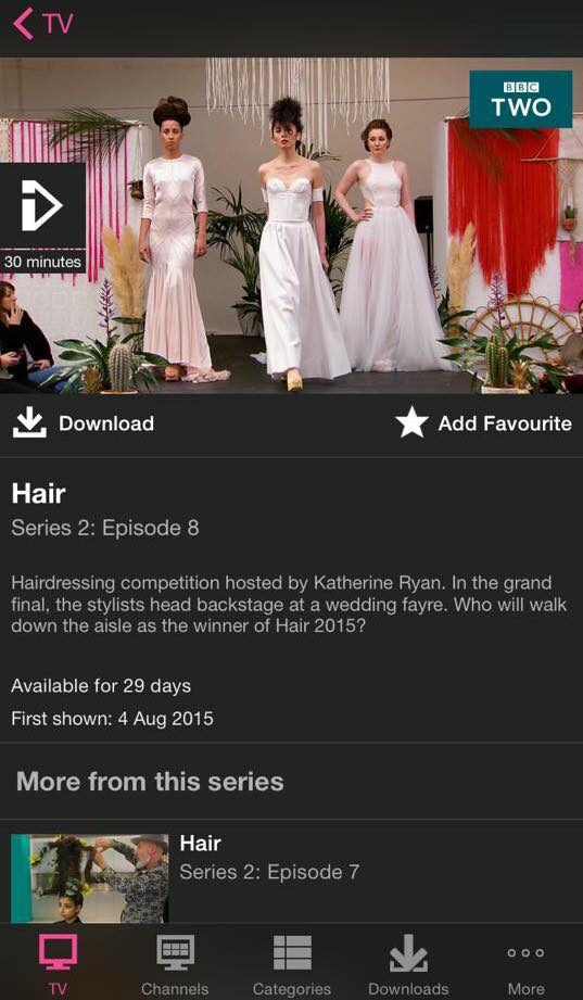 vj gowns featured in the finale of bbc2 series hair