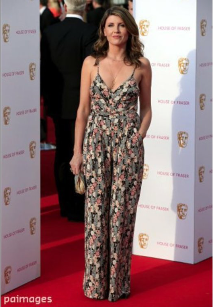 sharon horgan in bespoke vj love jumpsuit