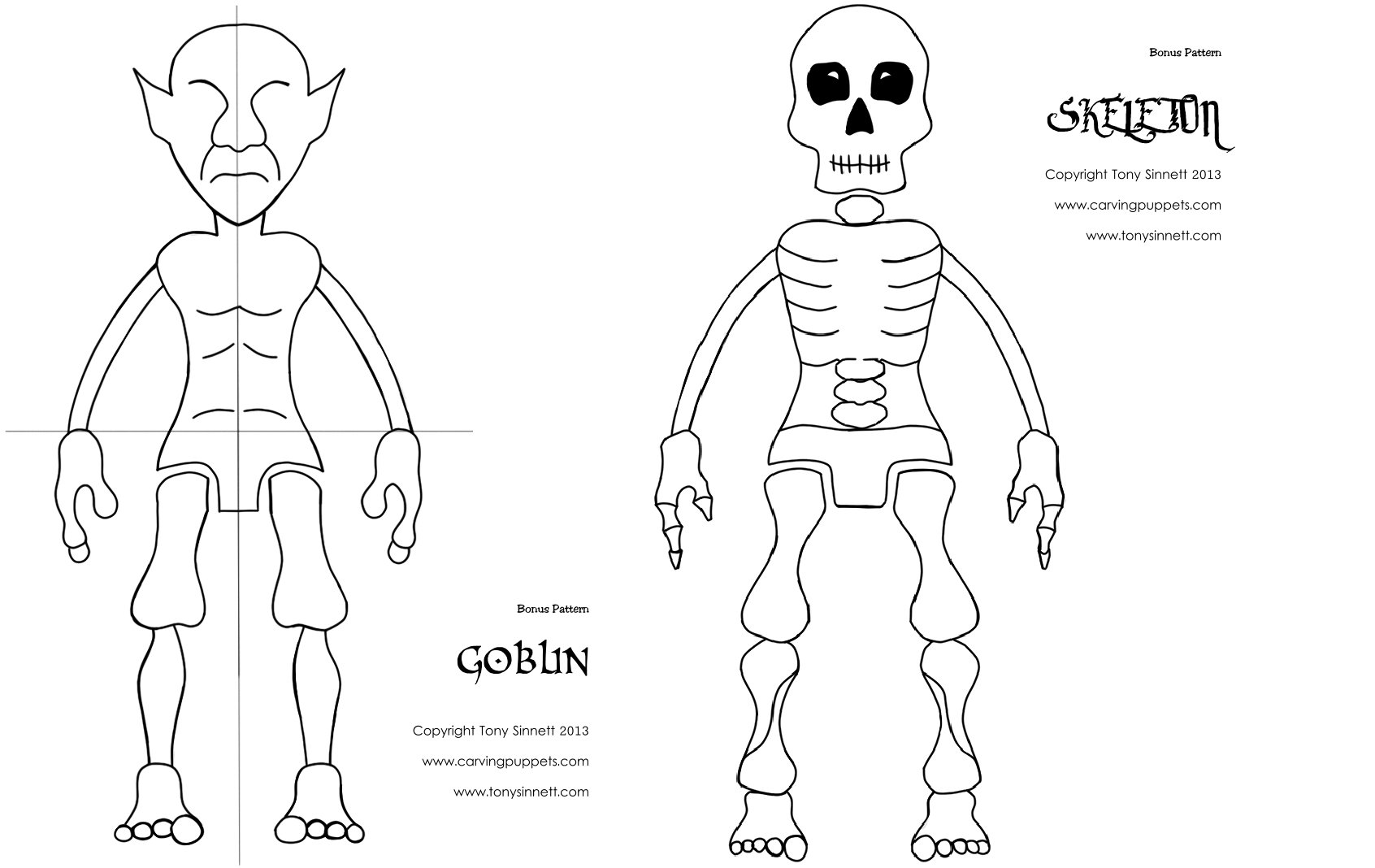Skeleton and Goblin Simple Marionette Plans