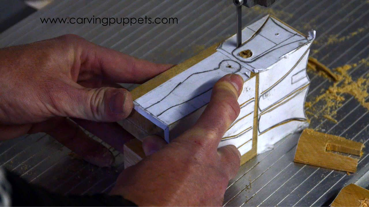 cutting marionette parts on the band saw