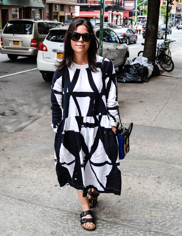 Rocking Bold Prints & Cat Eye Sunglasses on Broome Street