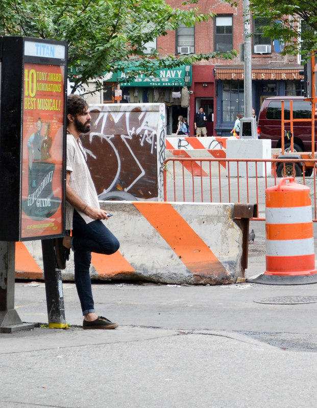 Beard and the lean at the corner of 1st and 1st, East Village