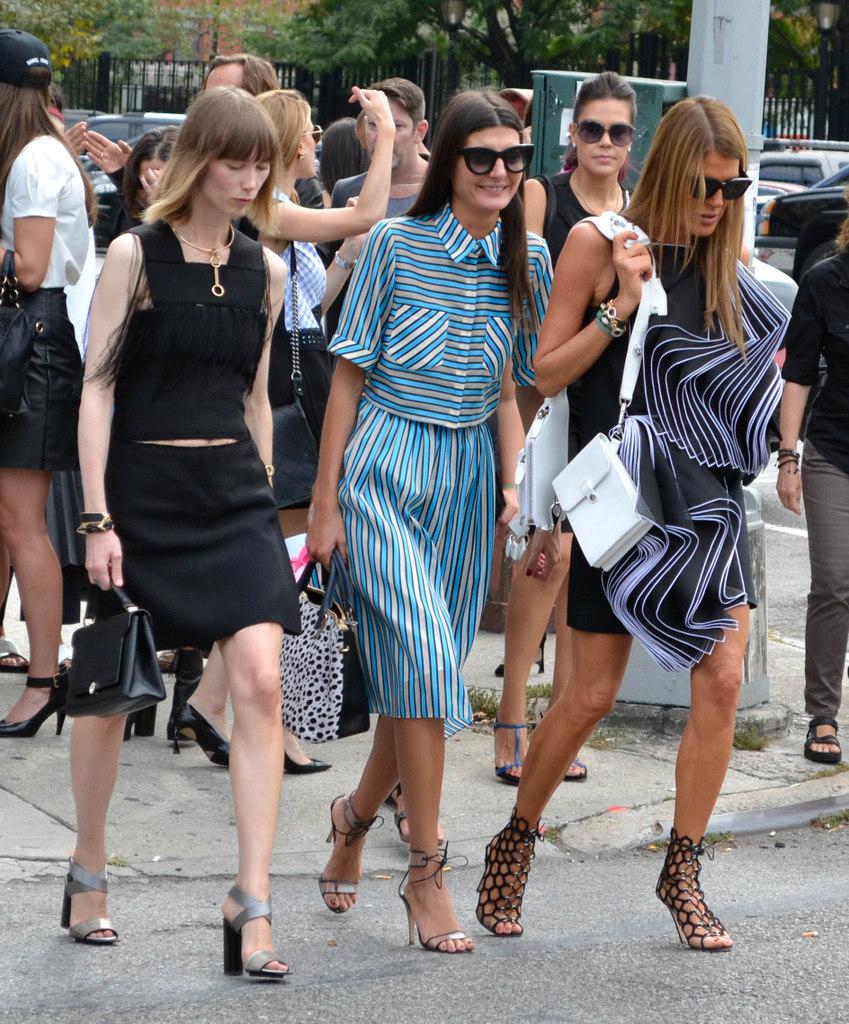 W Magazine  Contributor/Fashion Editor & Vogue Japan Fashion Editor Giovanna Battaglia (center) and  Vogue Japan's  Anna Della Russo (far right)