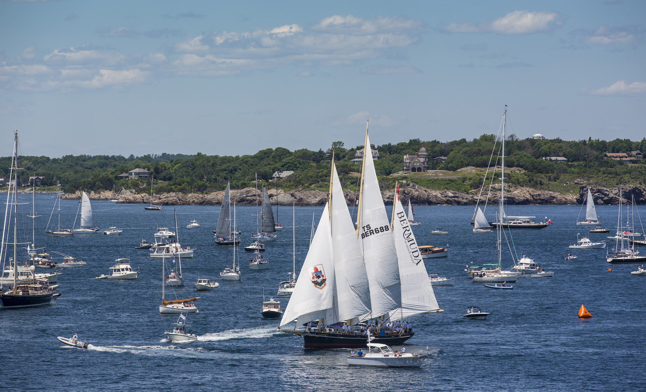 The many spectator boats off Castle Hill in Newport, R.I. for the start of the Newport Bermuda Race (Photo Credit: Daniel Forster/PPL)