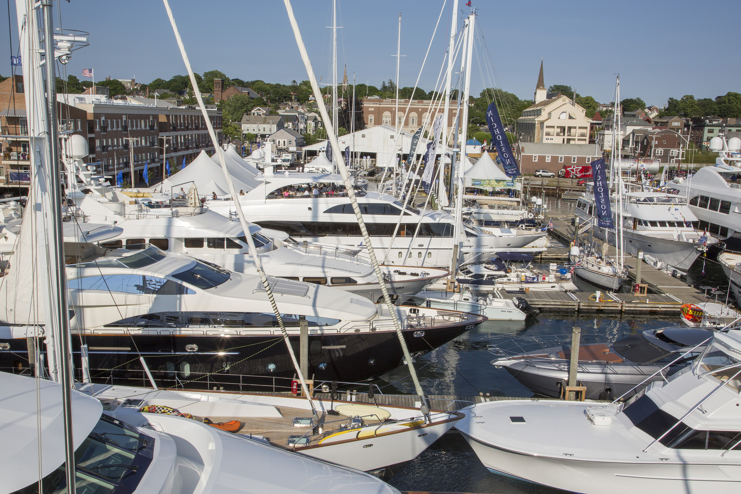 Participating yachts at the 2014 Newport Charter Yacht Show (Photo Credit: Billy Black)