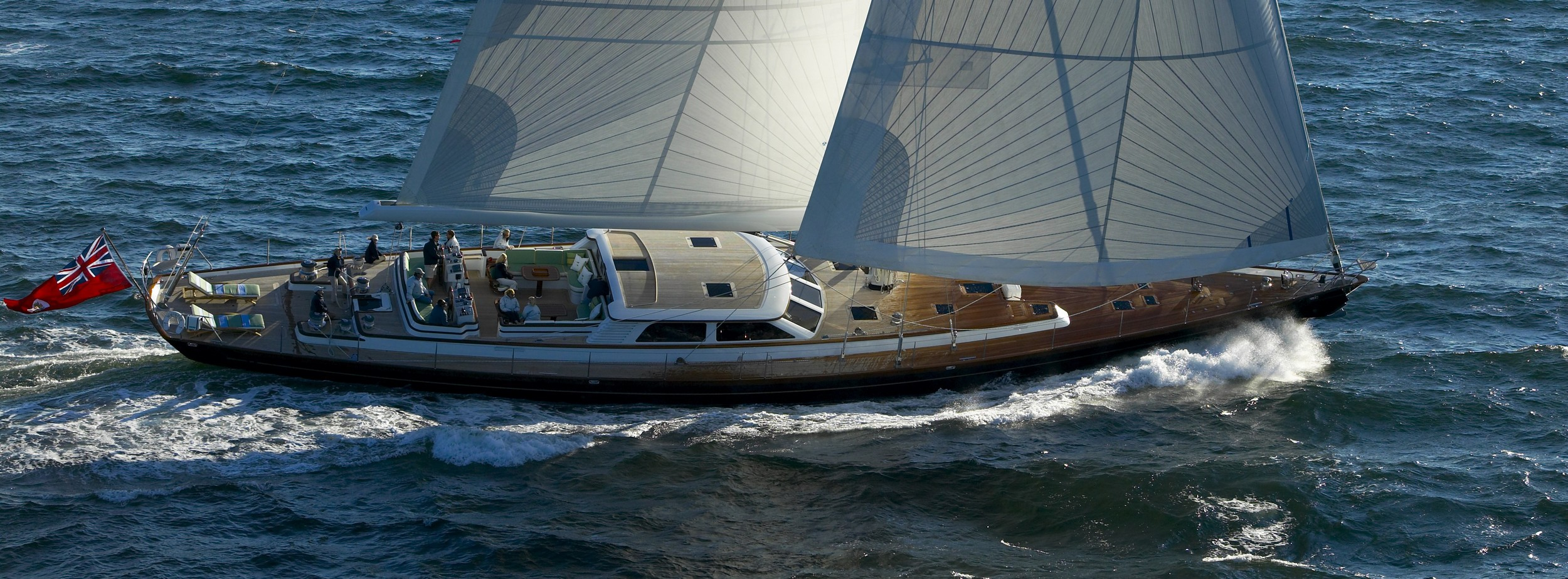 The 116-foot sloop Whisper is available for charter in New England this summer.