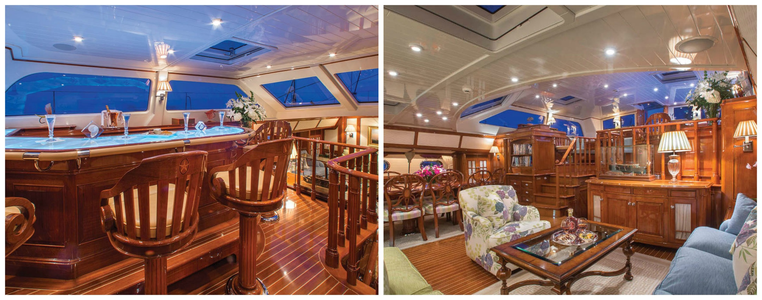 Whisper's teak interior is adorned with intricate inlays and carvings and includes an upper pilothouse lounge (left) that boasts a full wet bar with panoramic views of the horizon and a roomy salon (right) complete with a formal dining area.