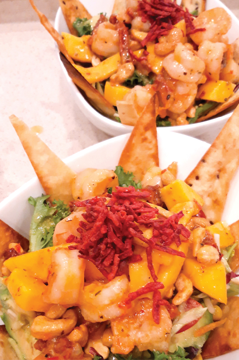 prawn and mango salad with tortilla shards