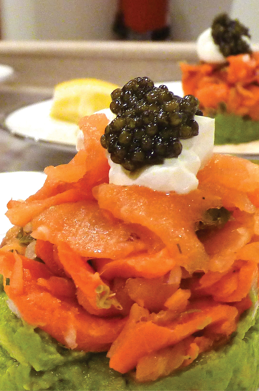 Smoked salmon timbal with avocado and caviar