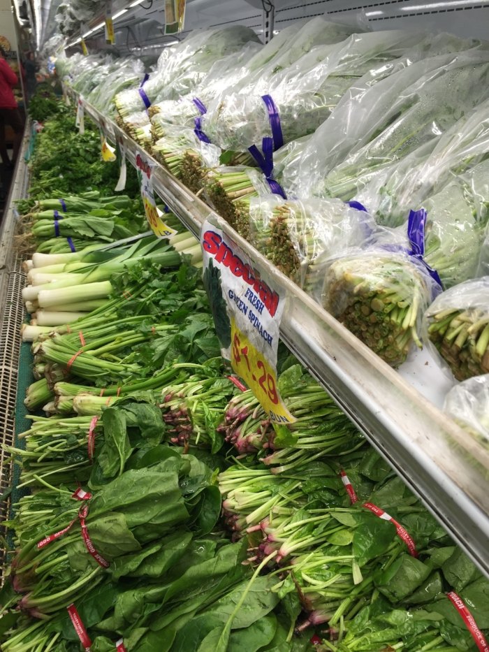 In addition to farmer's markets and produce shares, ethnic markets are a great place to shop for inexpensive greens. The choices are endless!