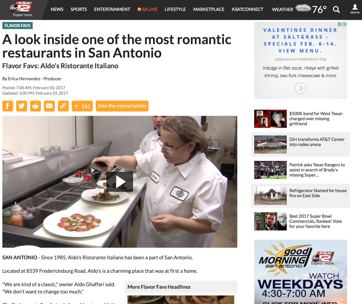 KSAT12: A Look Inside One of the Most Romantic Restaurants in San Antonio