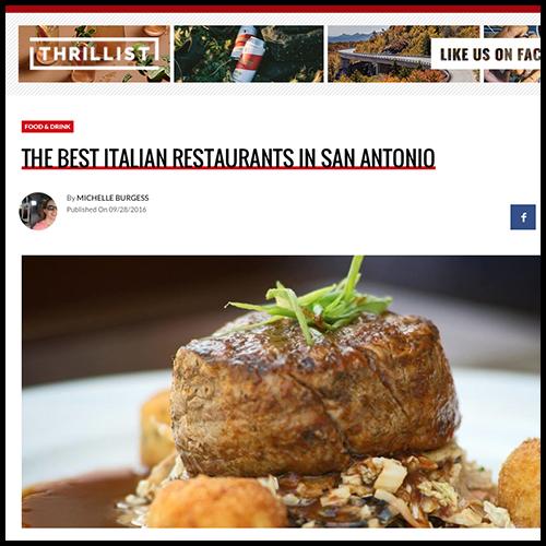 Thrillist Names Aldo's Among San Antonio's Best Italian Restaurants