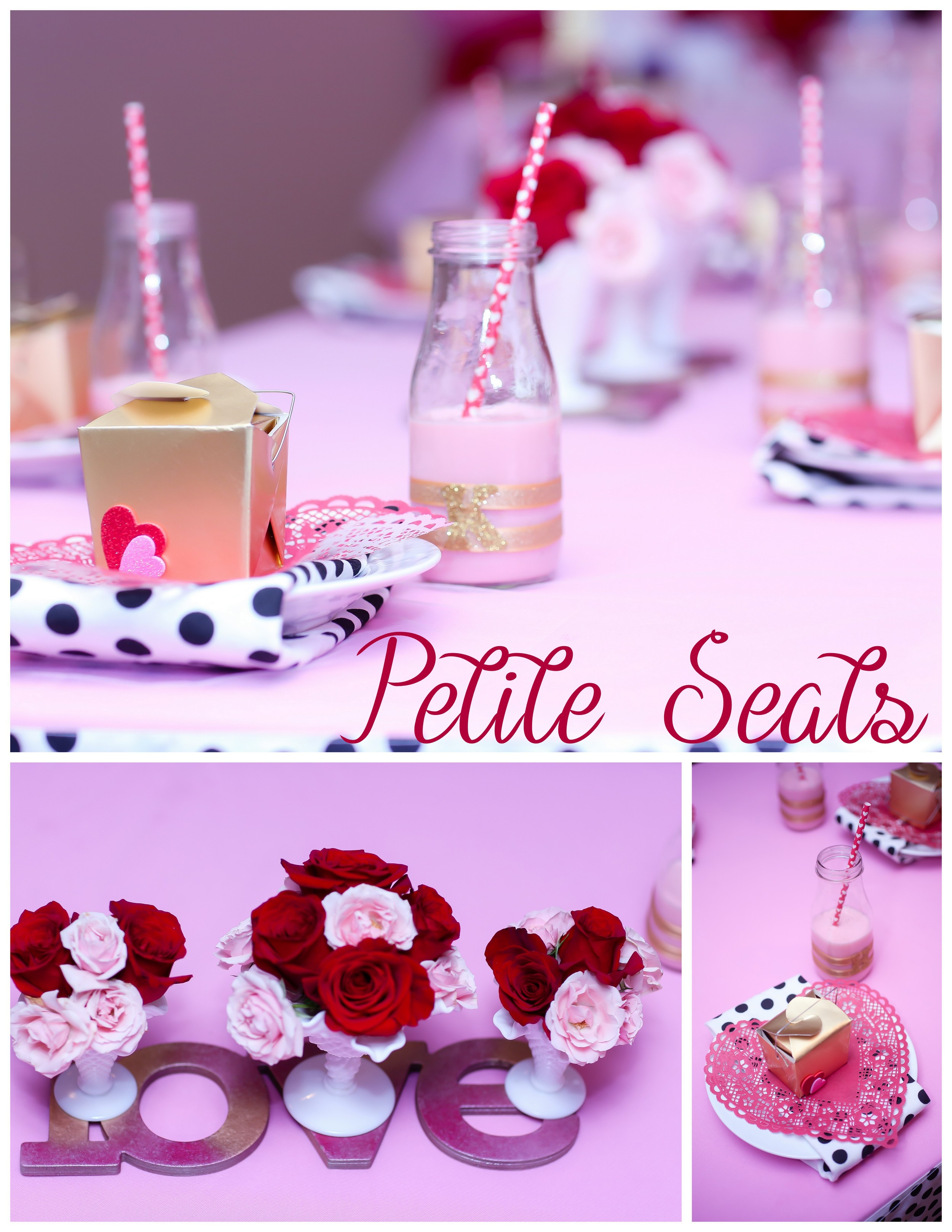 Who doesn't love strawberry milk?! And it was organic, a refreshing treat for the little ladies. The centerpieces created by Natasha are featuredtriadof her rental Fenton Hobnail Milk Glass collection.