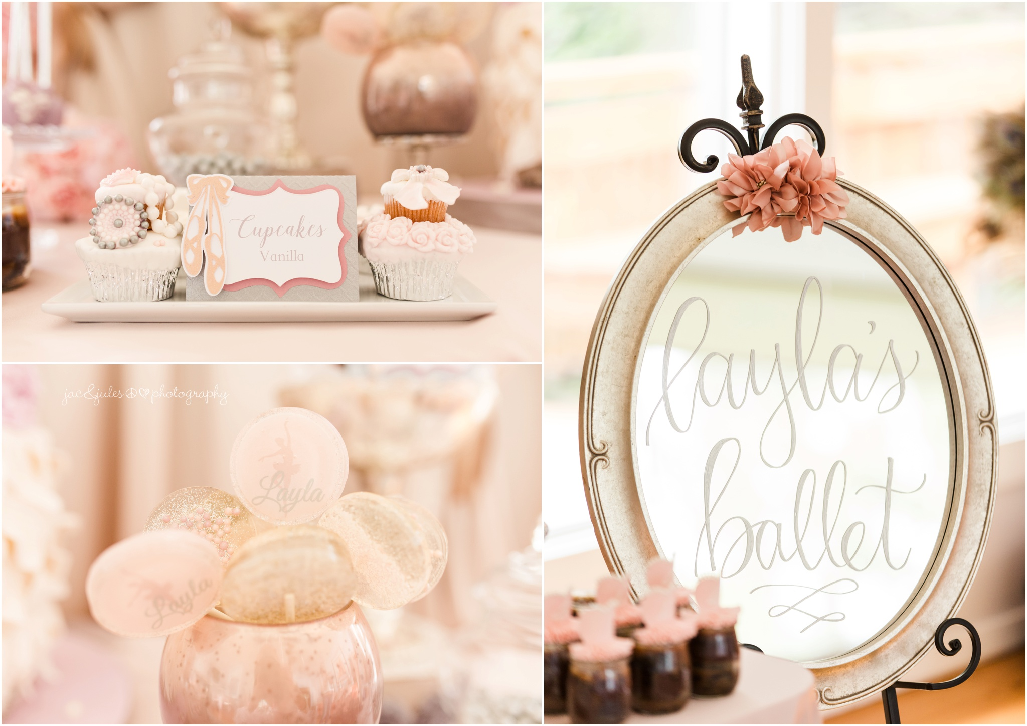 Mirrored Sign by Minted Feather and cupcake towers by Mina of  Minty H Cupcakes
